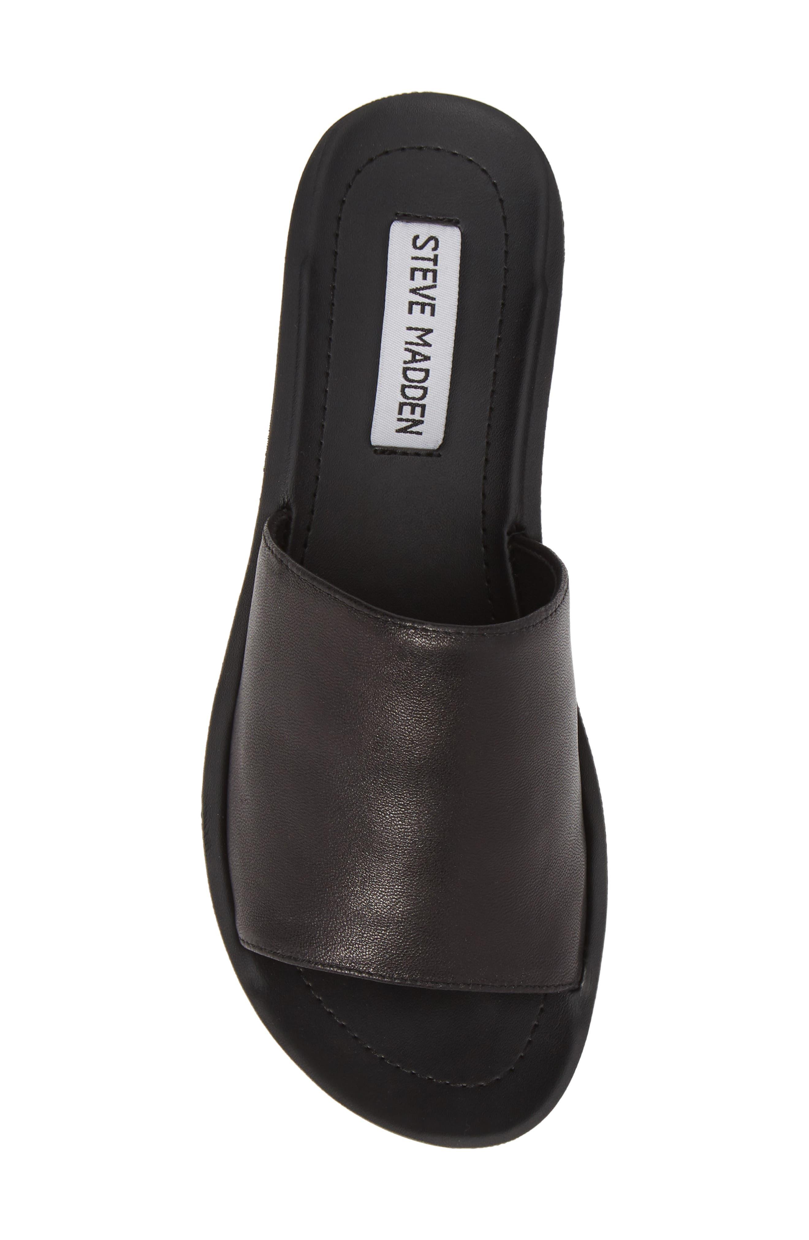 STEVE MADDEN,                             Porter Slide Sandal,                             Alternate thumbnail 5, color,                             BLACK LEATHER