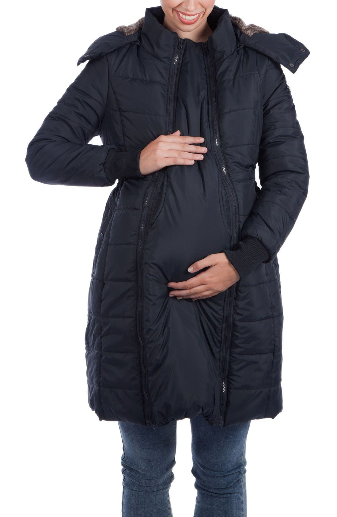Madison Quilted 3-in-1 Maternity Puffer Coat with Faux Fur Trim,                             Main thumbnail 1, color,                             BLACK
