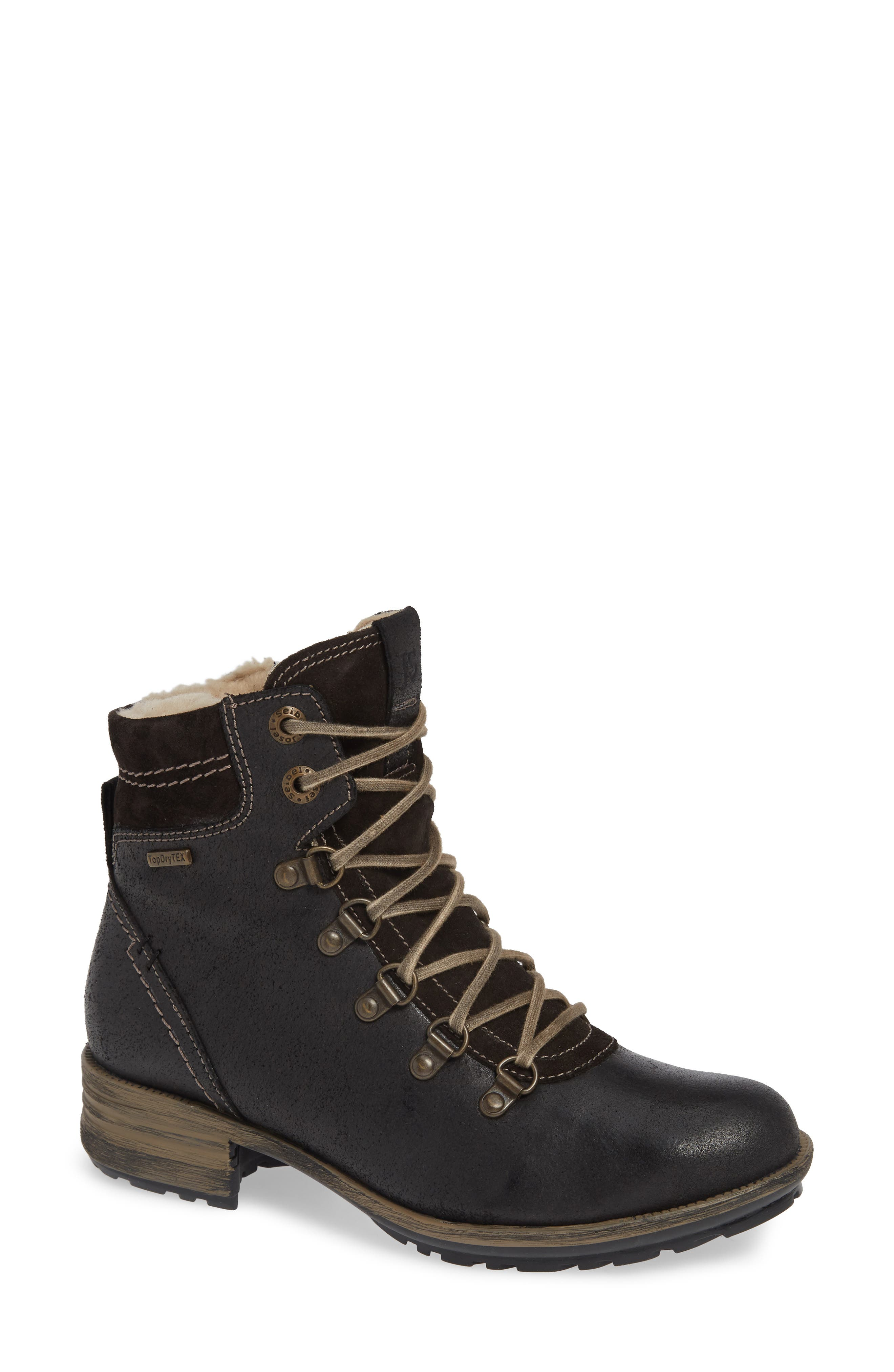Josef Seibel Sandra 66 Waterproof Lace-Up Bootie, Black
