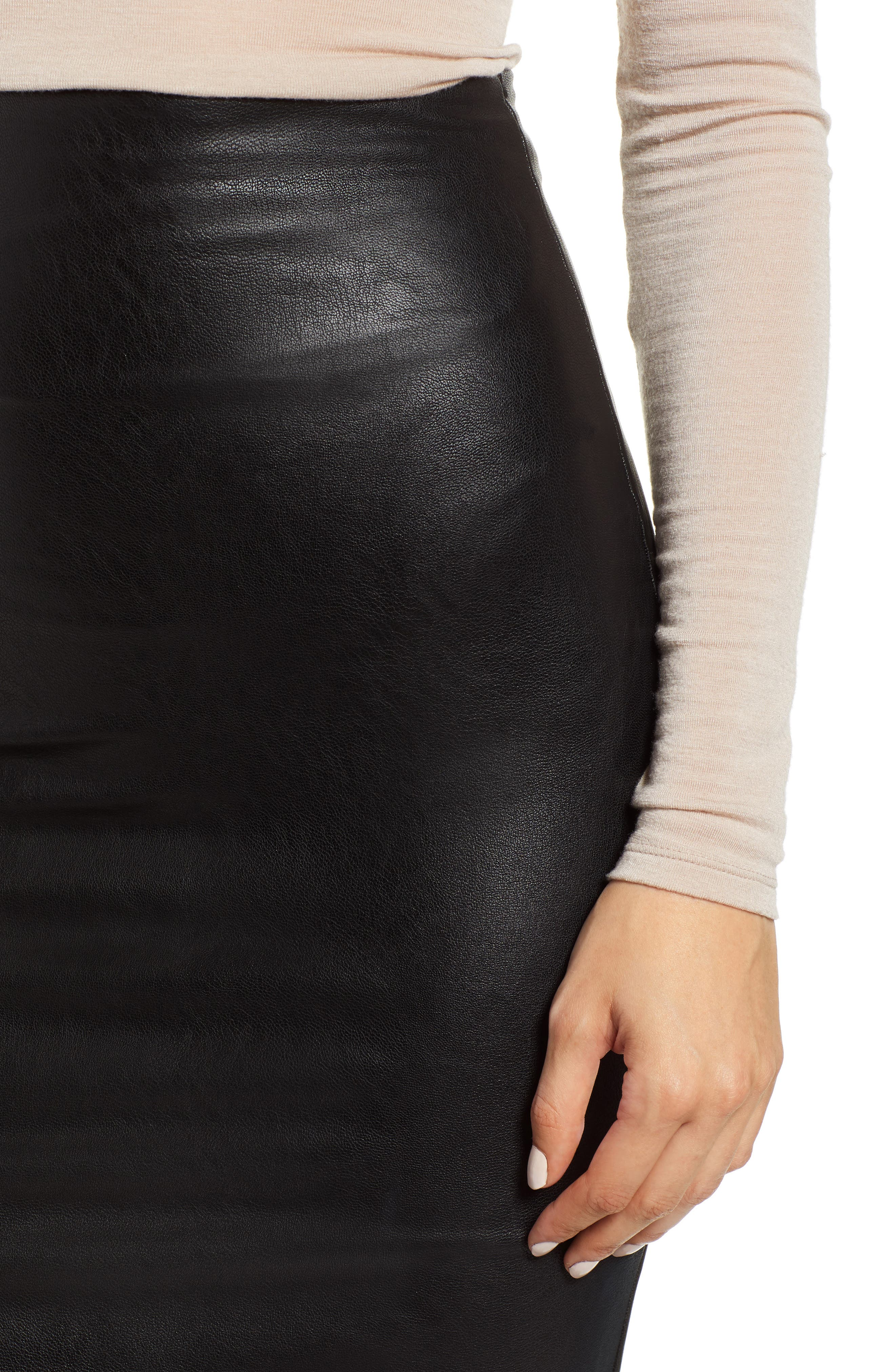 Faux Leather Midi Skirt,                             Alternate thumbnail 4, color,                             BLACK
