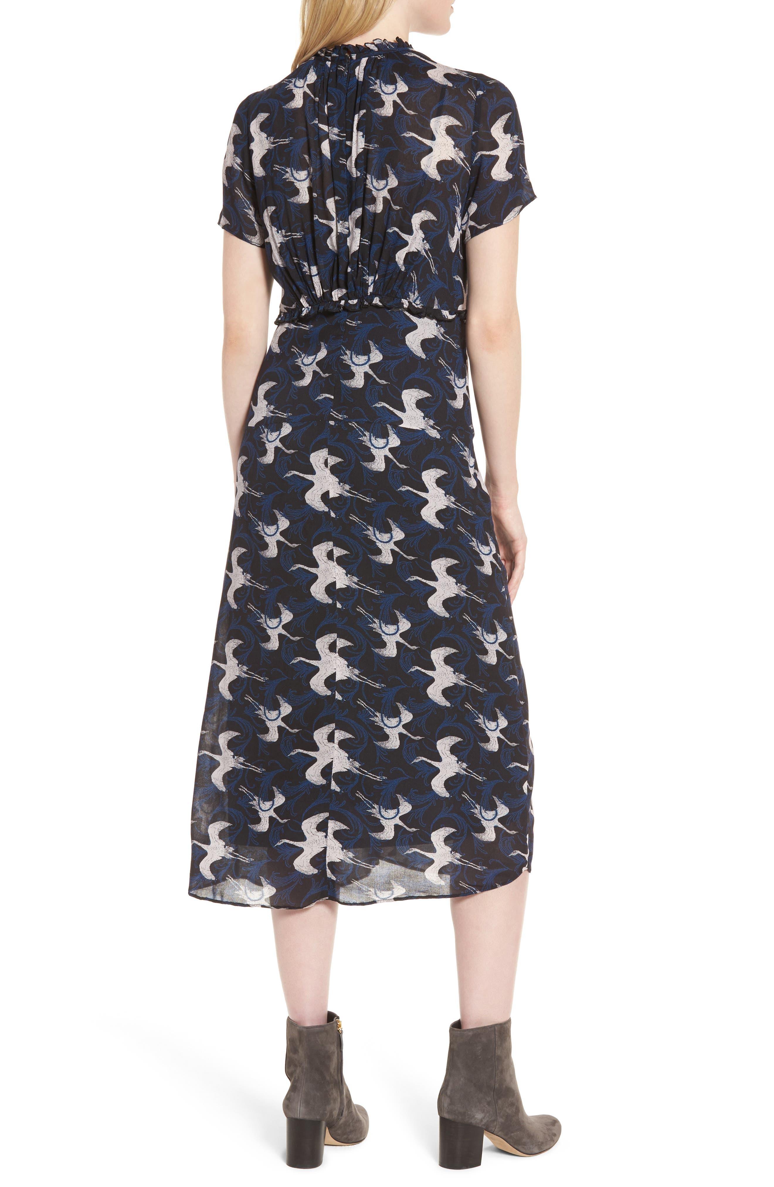 Shirred Midi Dress,                             Alternate thumbnail 2, color,                             020