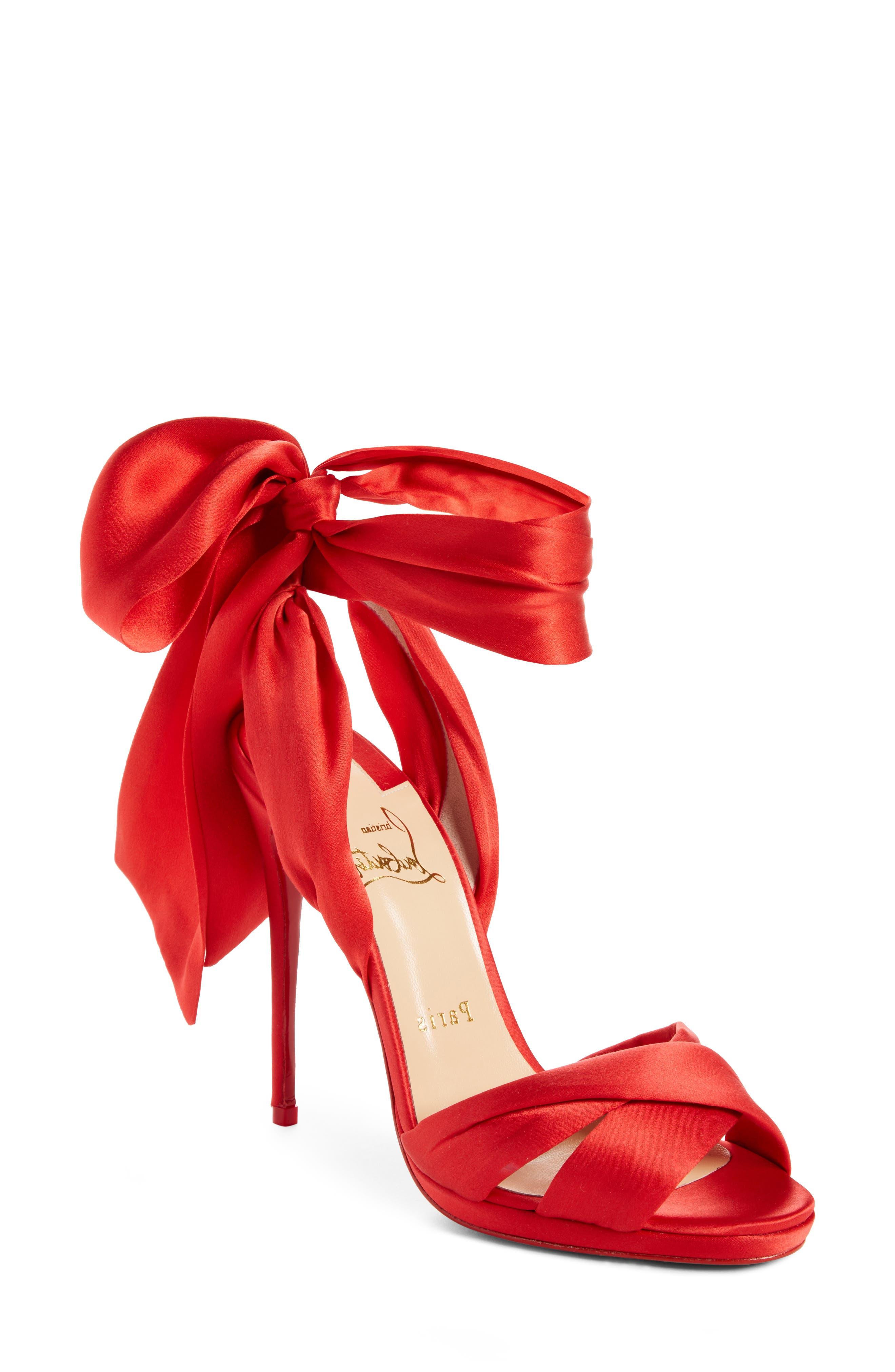 Très Frais Ankle Wrap Sandal,                             Main thumbnail 1, color,                             RED