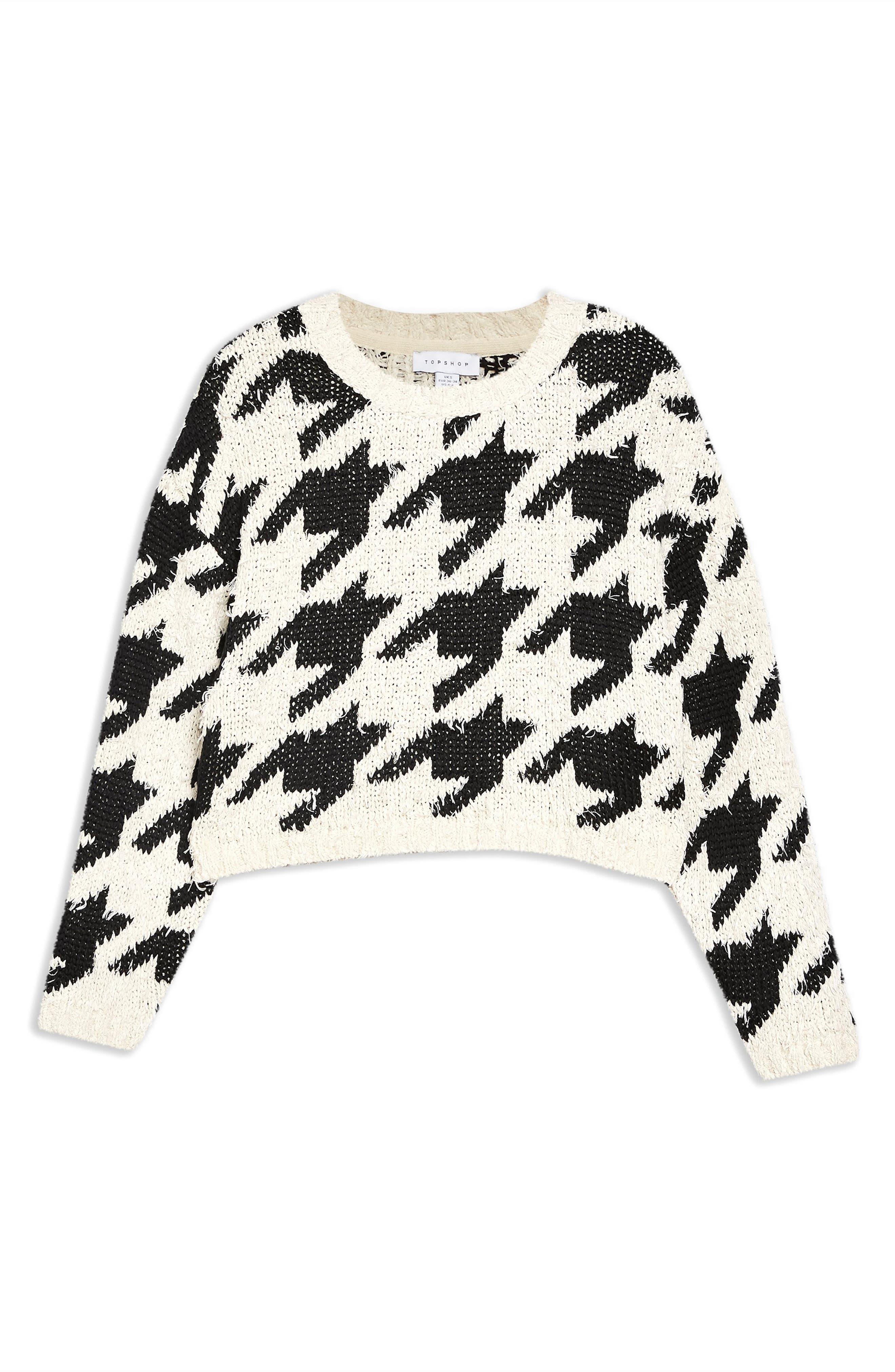 TOPSHOP,                             Dogtooth Sweater,                             Alternate thumbnail 3, color,                             BLACK MULTI