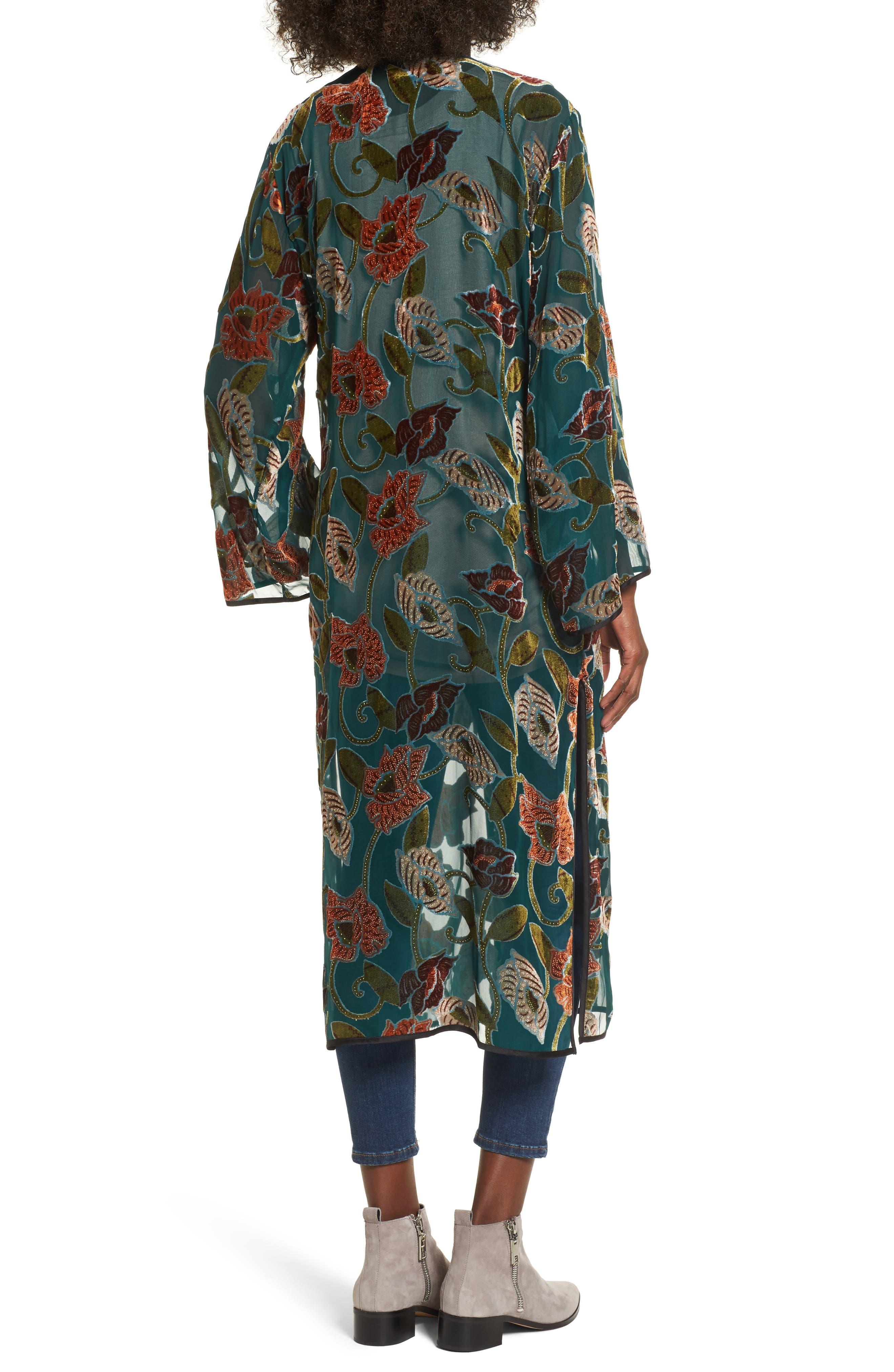 Velvet Burnout Kimono,                             Alternate thumbnail 2, color,                             440