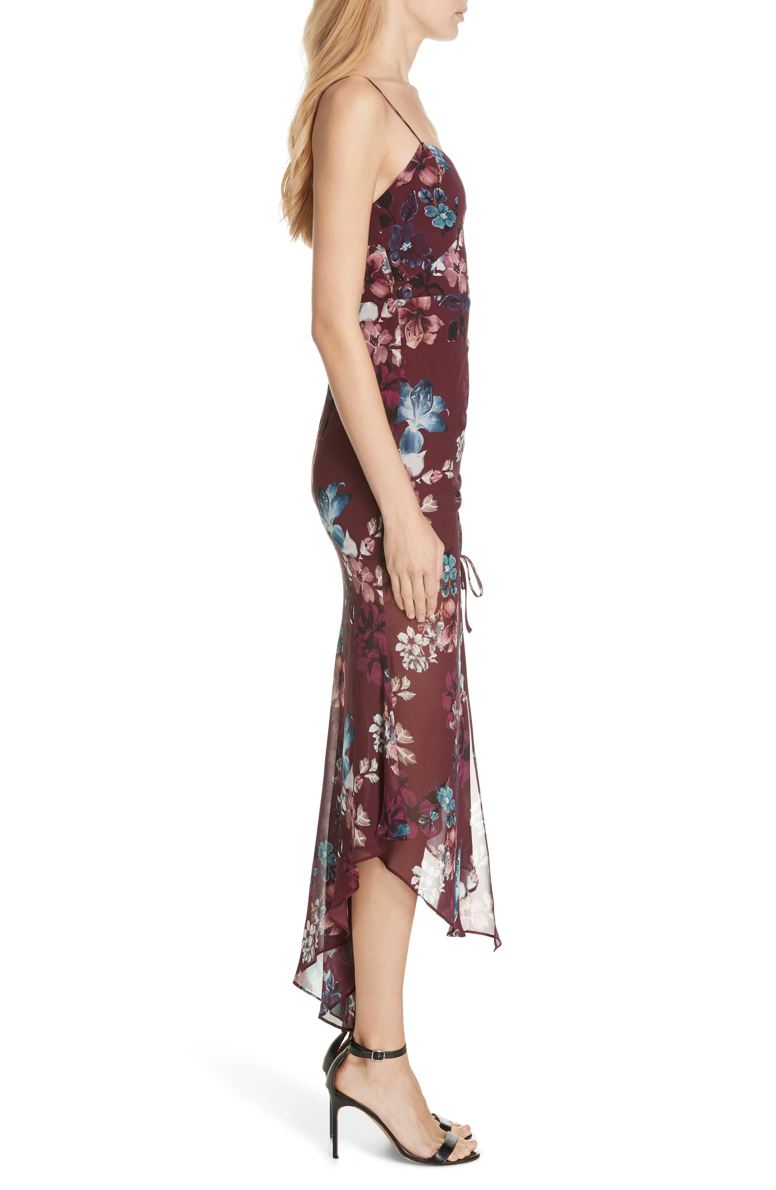 Floral Silk Drawstring Dress,                             Alternate thumbnail 3, color,                             930
