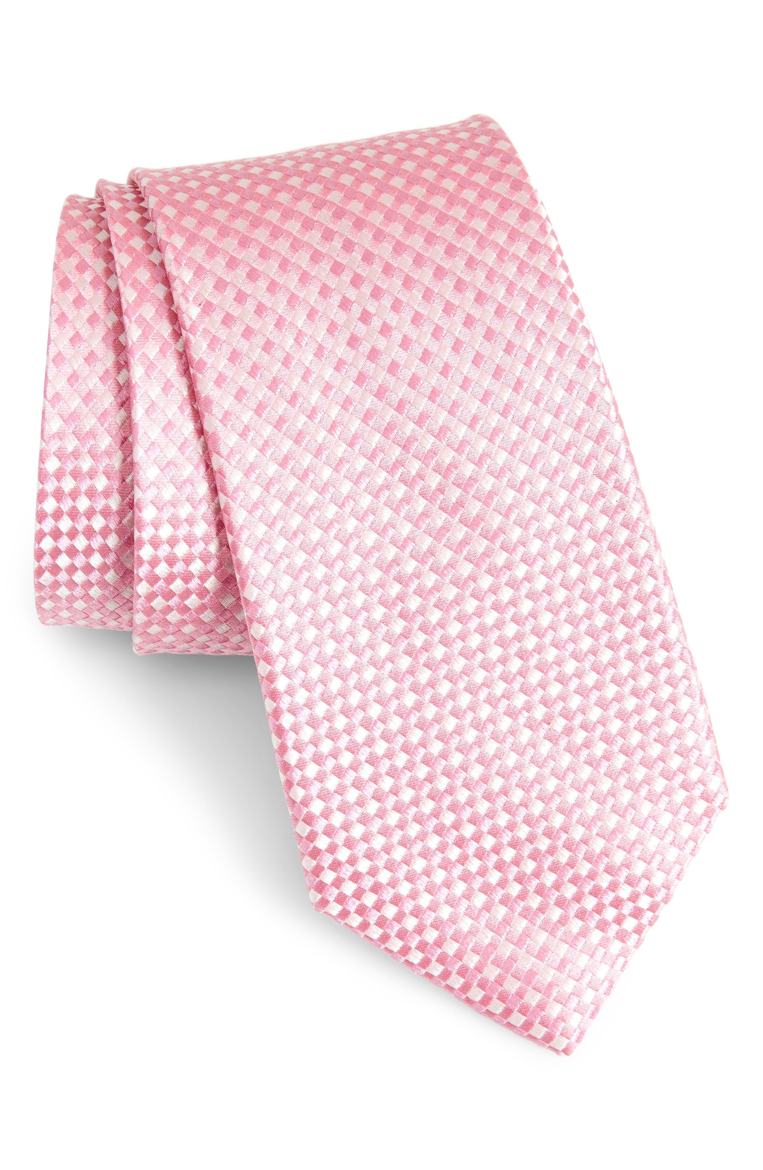 Check Silk Tie,                             Main thumbnail 1, color,                             BABY PINK