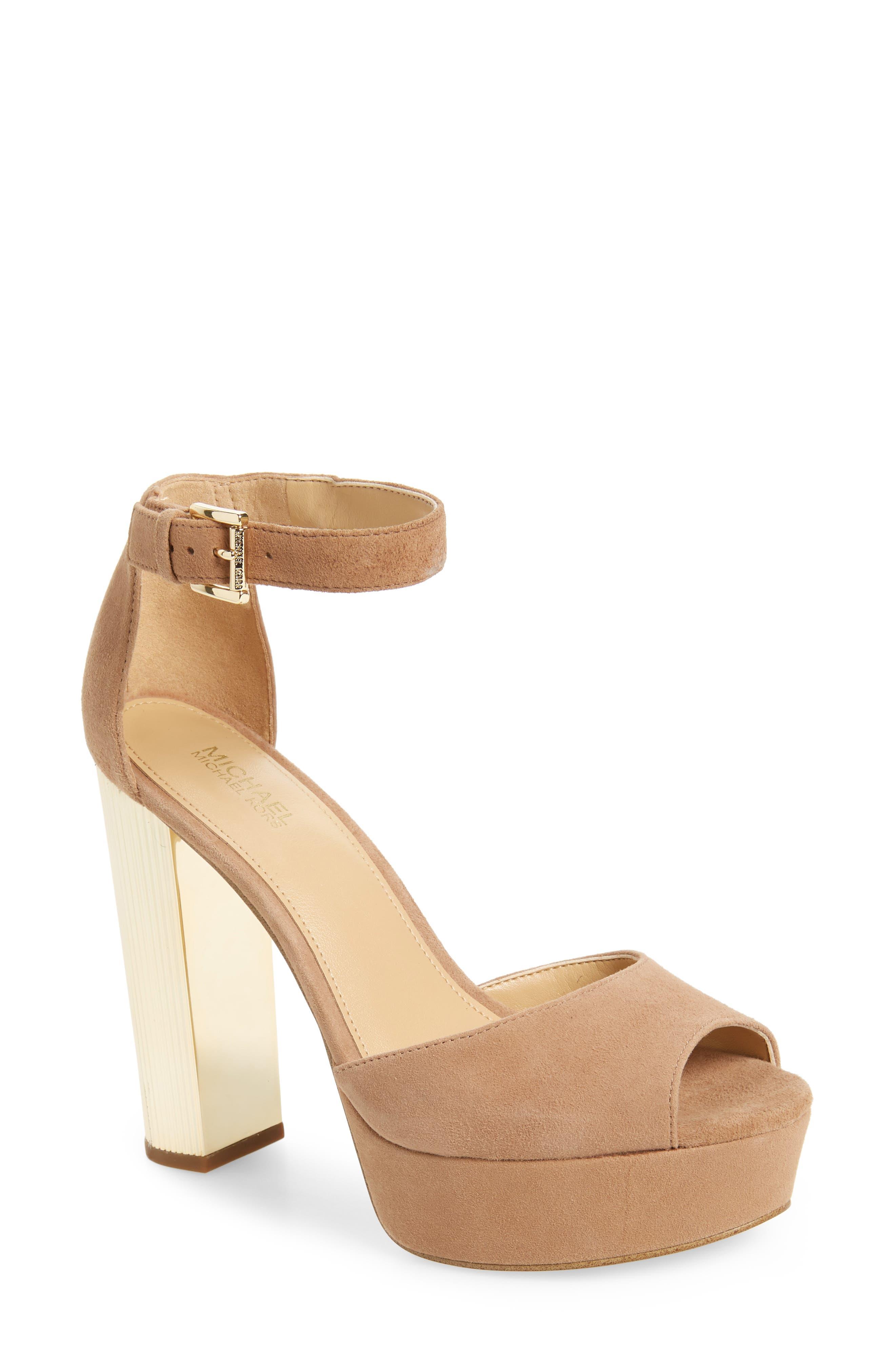 Paloma Metallic Heel Platform Sandal,                             Main thumbnail 1, color,                             DARK KHAKI