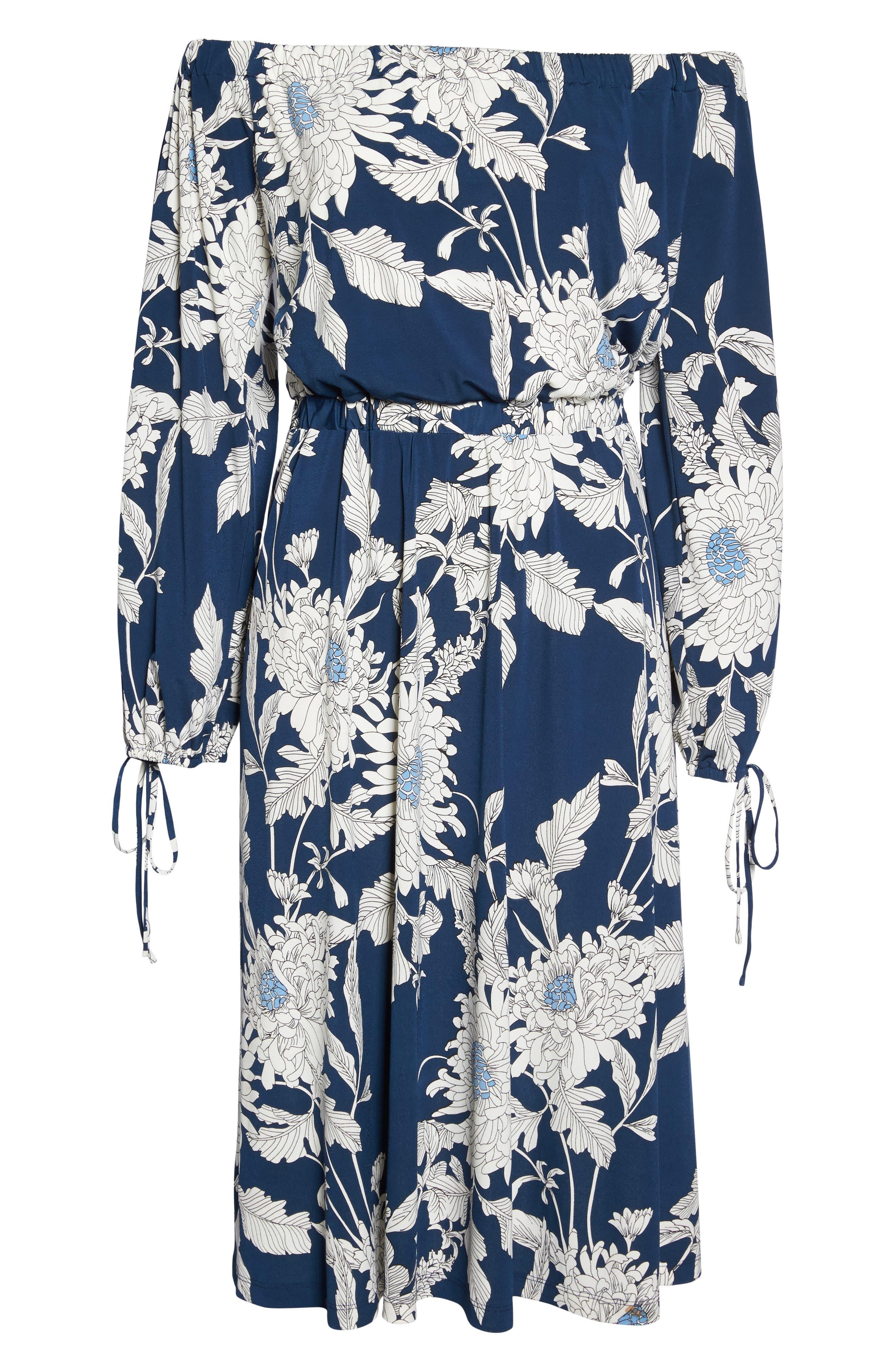 Print Jersey Off the Shoulder Blouson Dress,                             Alternate thumbnail 6, color,                             402