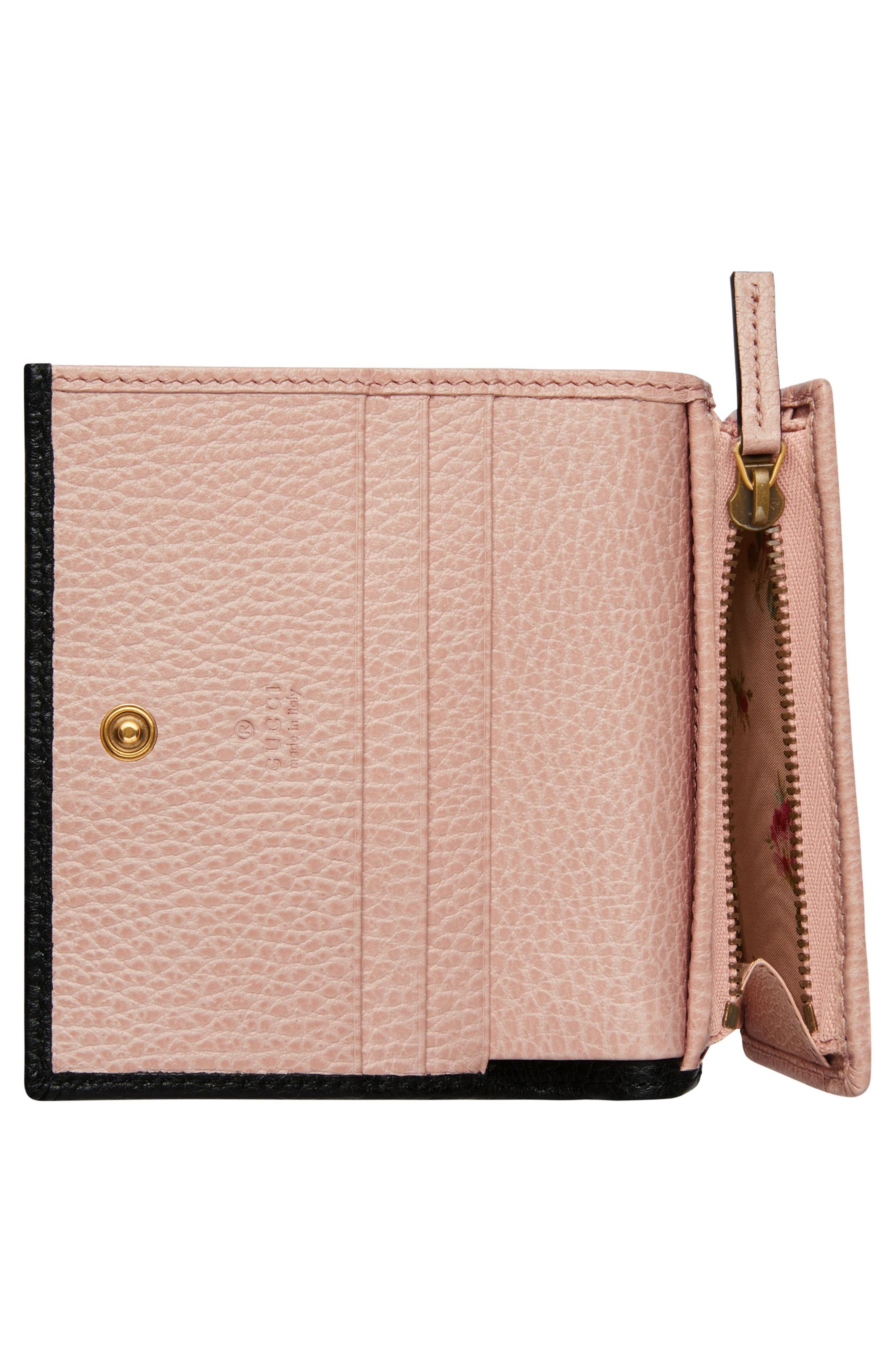 Fiocchino Leather Card Case,                             Alternate thumbnail 4, color,                             NERO/ PERFECT PINK/ CRYSTAL