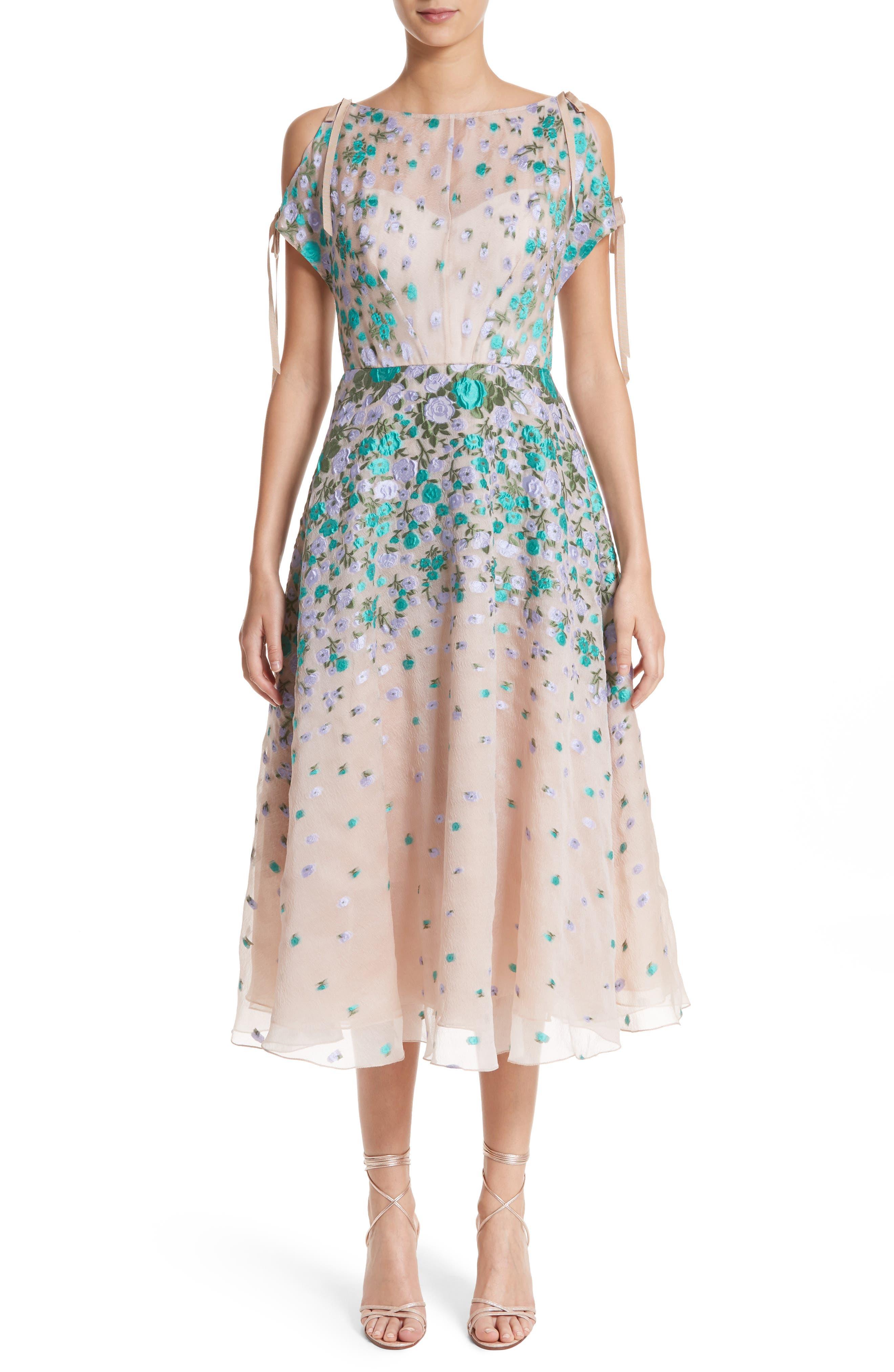 Floral Matelassé Cold Shoulder Dress,                             Main thumbnail 1, color,