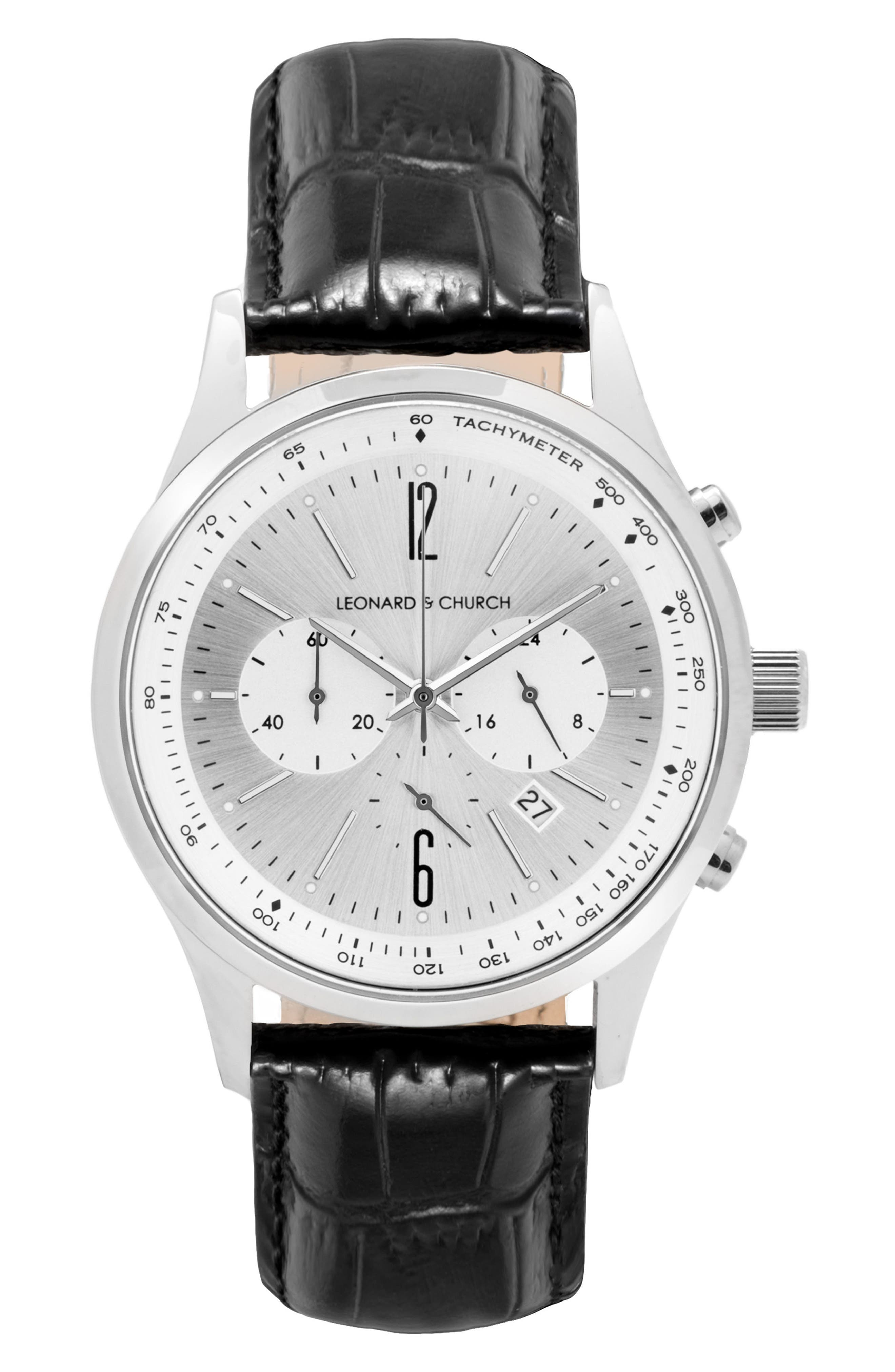 Leonard & Church Barclay Chronograph Leather Strap Watch, 43mm,                             Main thumbnail 1, color,                             BLACK/ SILVER