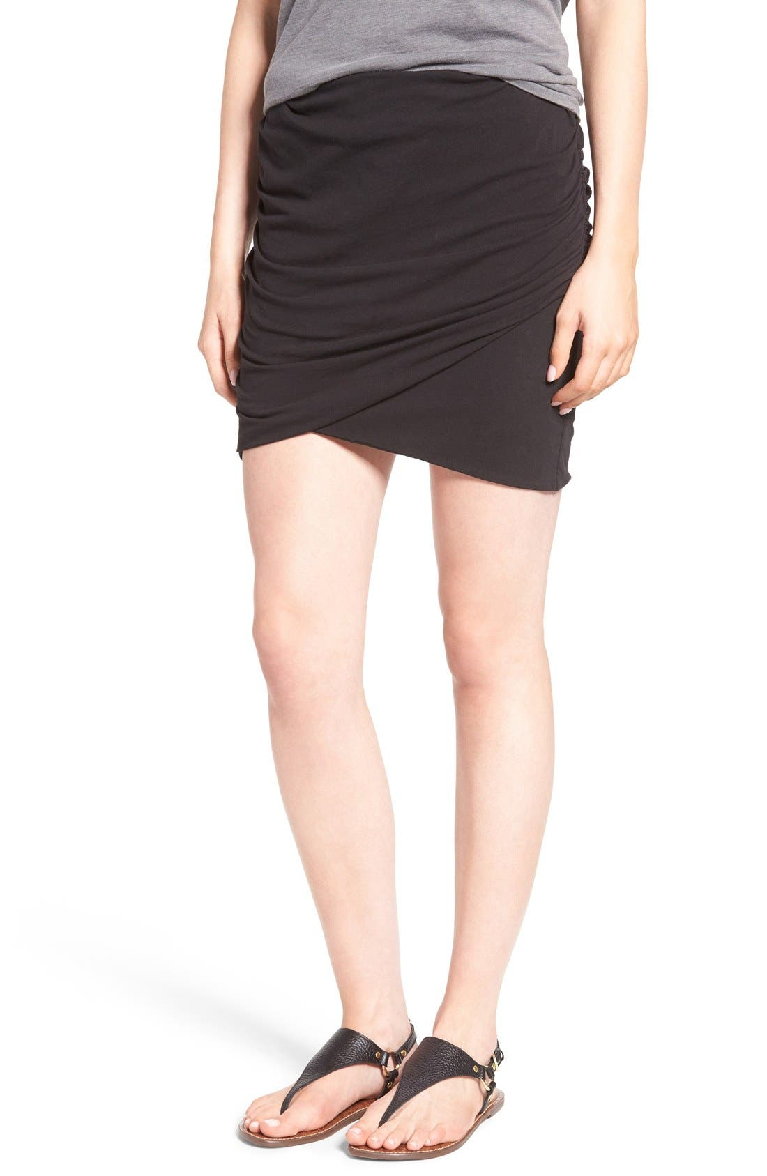 Ruched Surplice Skirt,                             Main thumbnail 2, color,