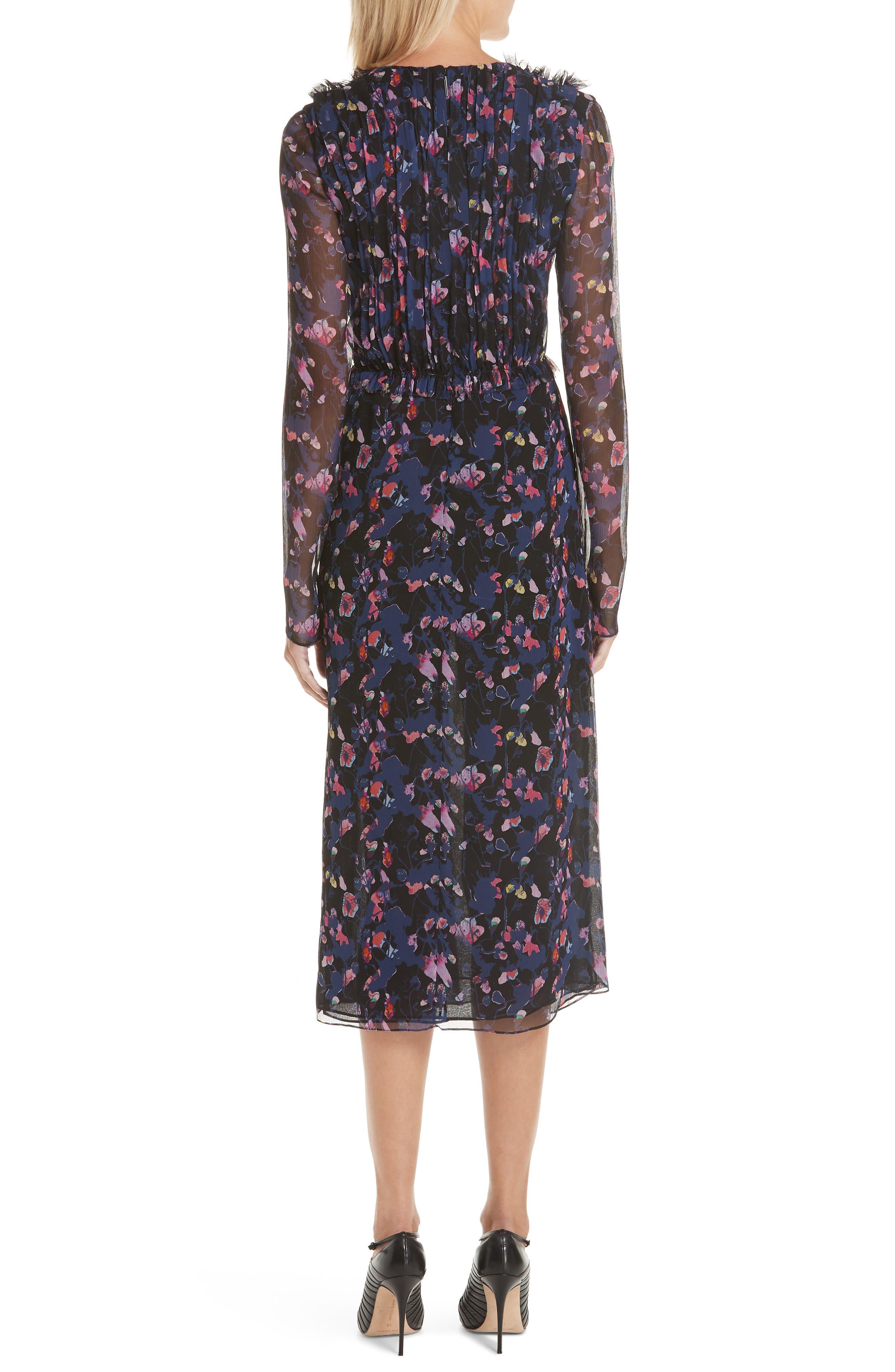 Print Silk Chiffon Midi Dress,                             Alternate thumbnail 2, color,                             BLACK MULTI