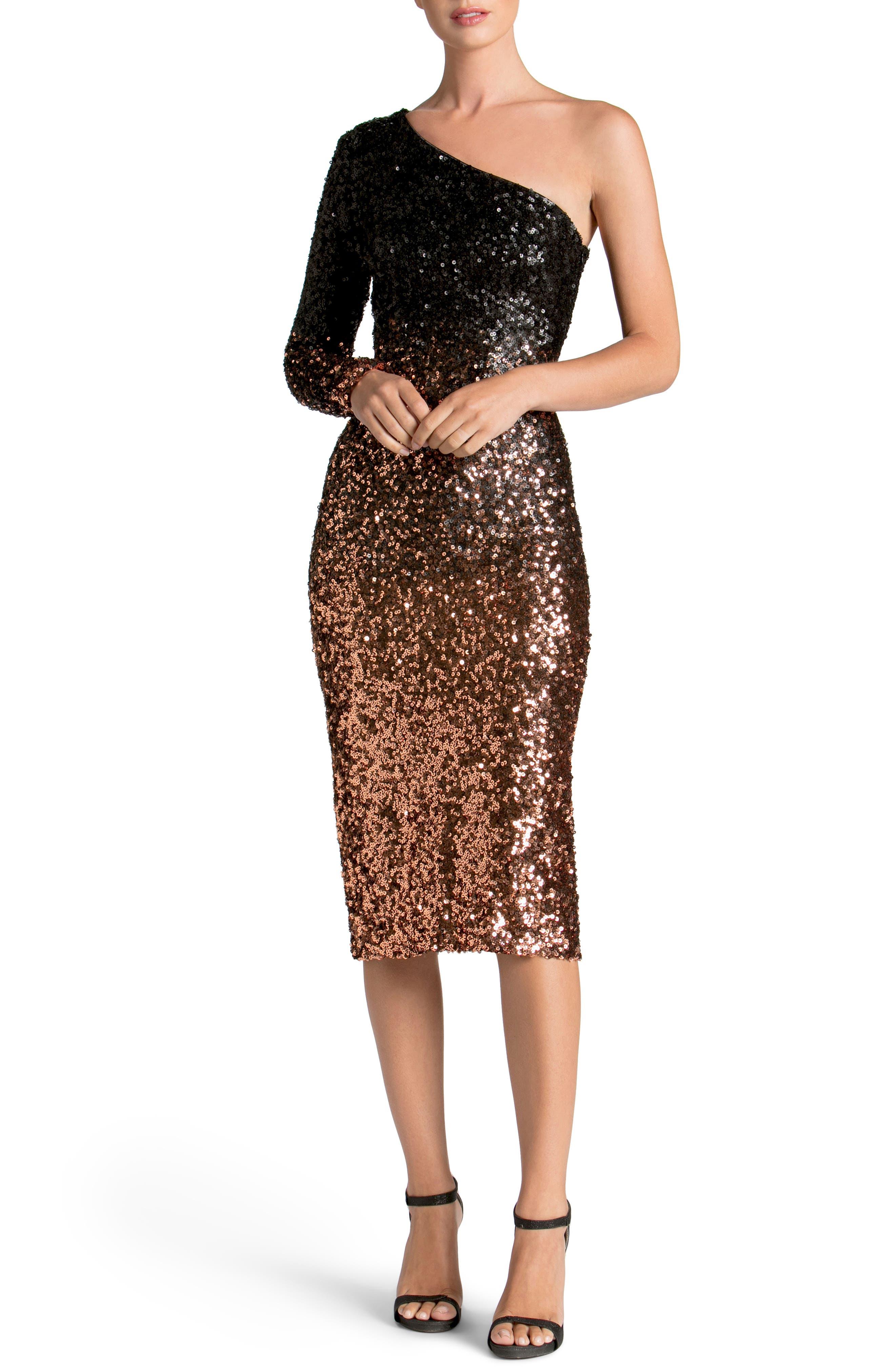 Chrissie One-Shoulder Ombré Sequin Sheath Dress,                             Main thumbnail 1, color,                             016