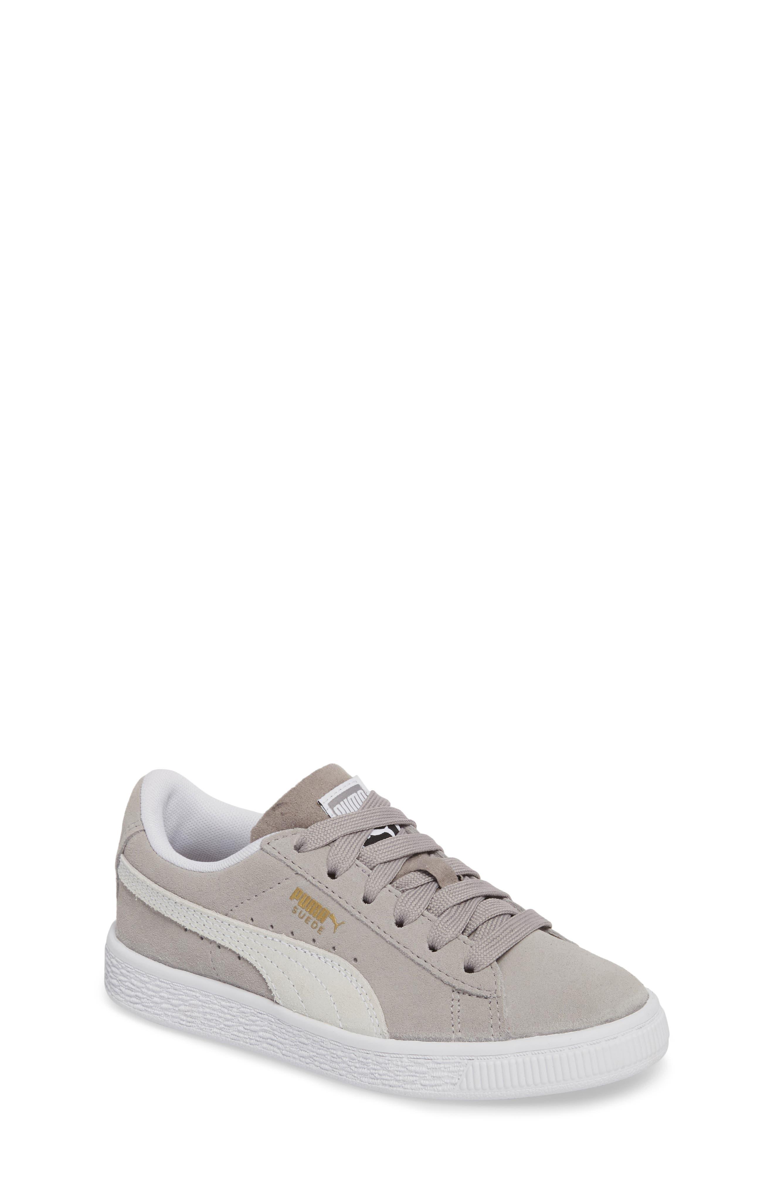 Suede Sneaker,                         Main,                         color, ASH/ PUMA WHITE