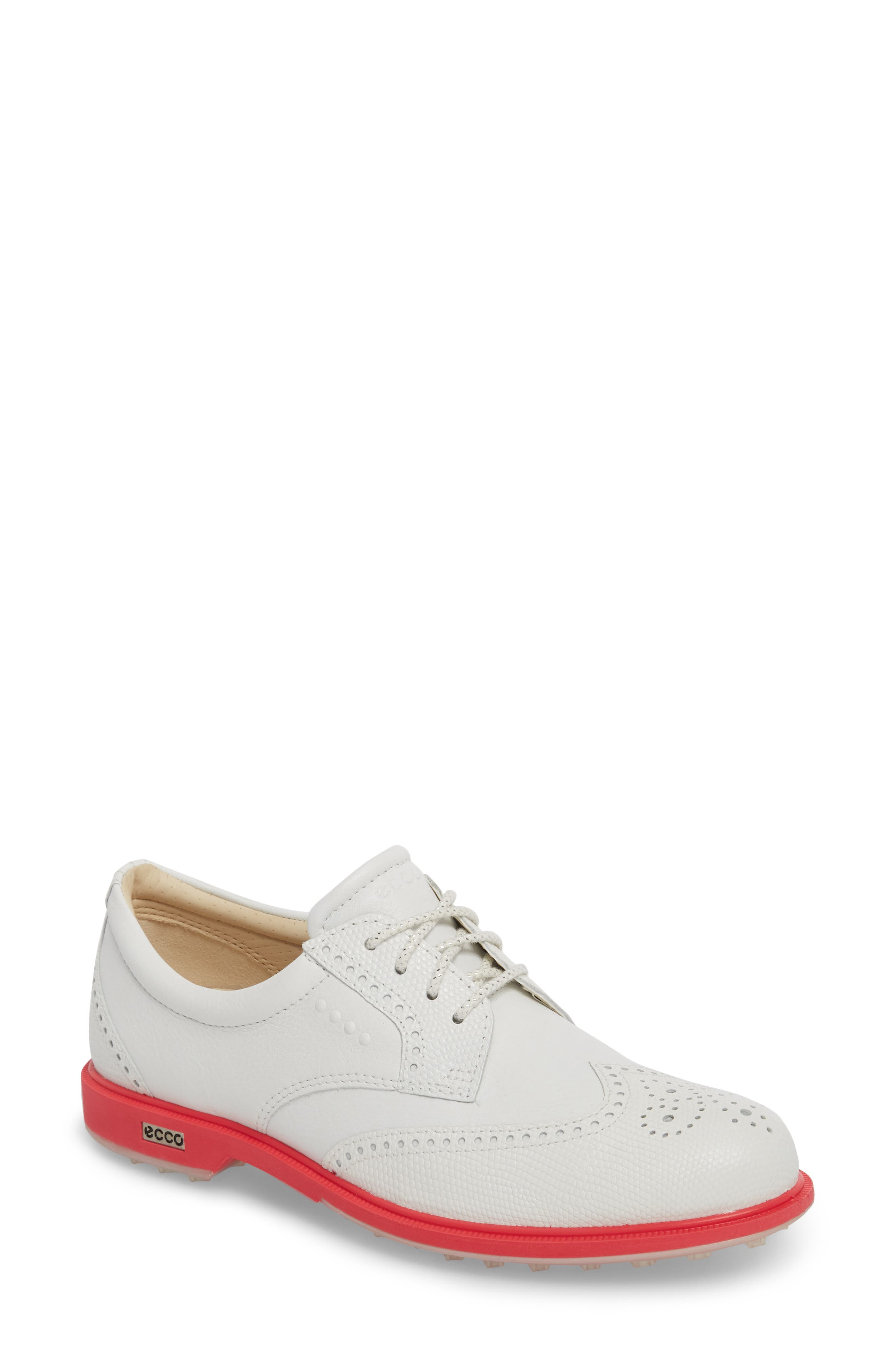'Tour' Hybrid Wingtip Golf Shoe,                             Main thumbnail 1, color,                             WHITE LEATHER/ RED