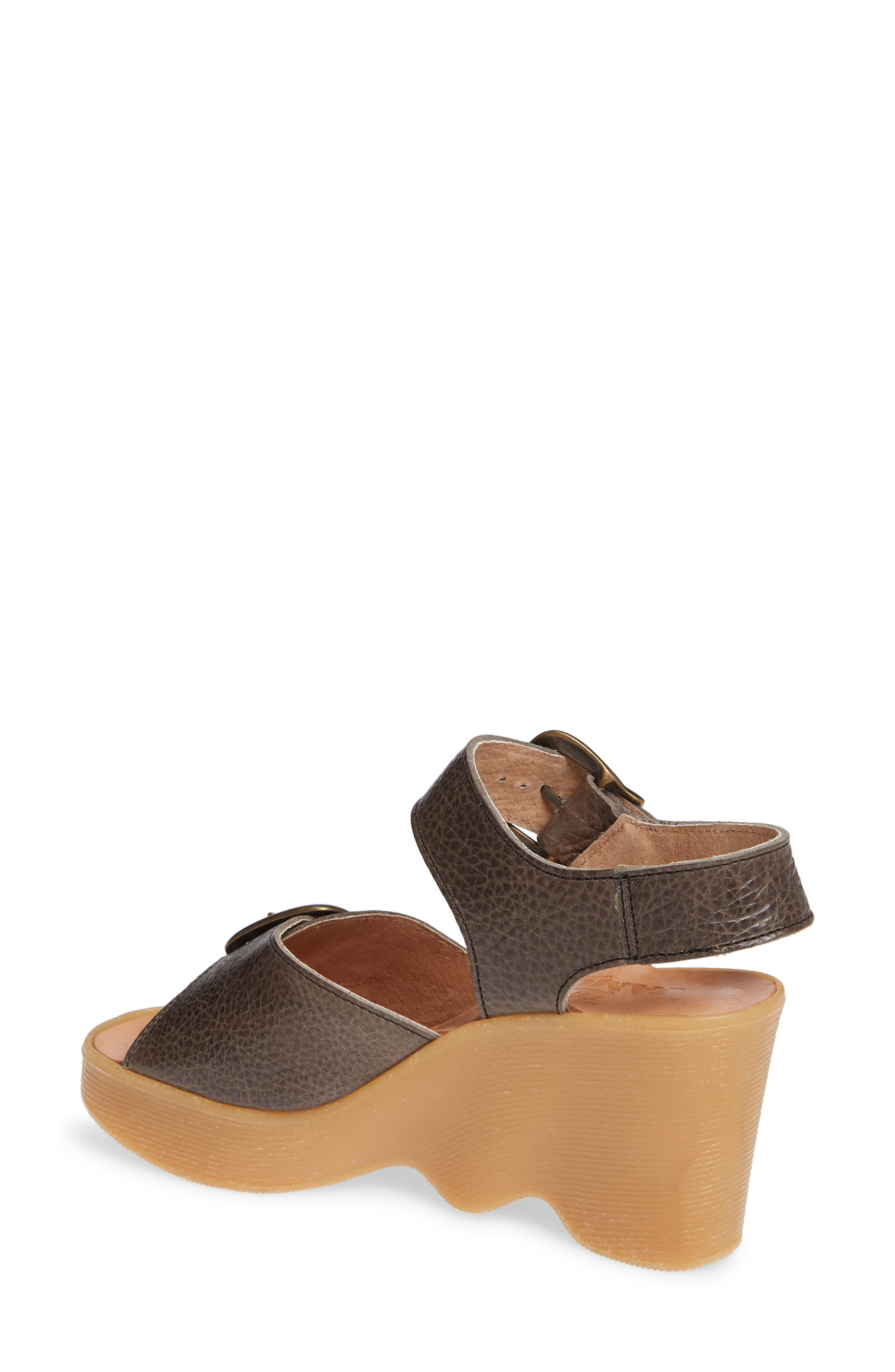 Double Vision Wedge Sandal,                             Alternate thumbnail 2, color,                             STEEL LEATHER
