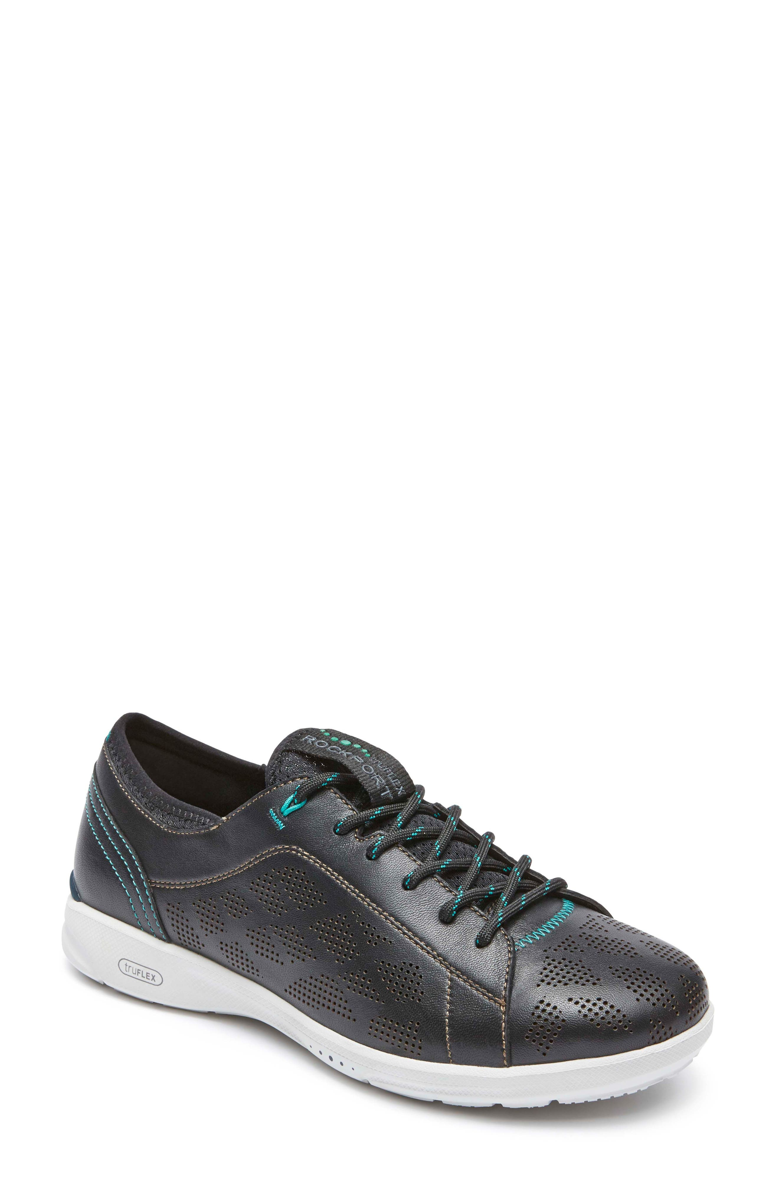 truFLEX Perforated Sneaker,                             Main thumbnail 1, color,                             BLACK LEATHER