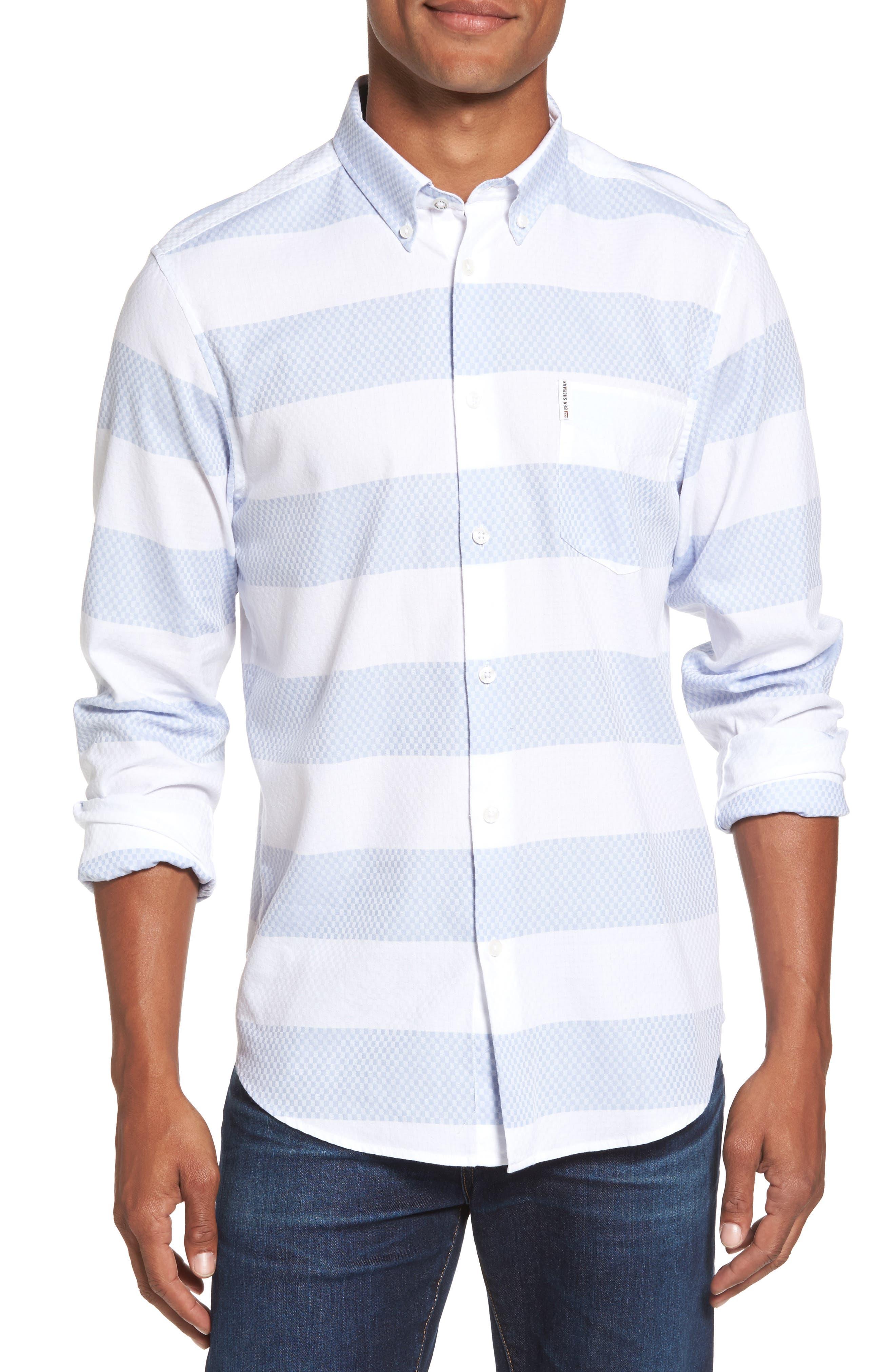 Dobby Gingham Stripes Shirt,                         Main,                         color,