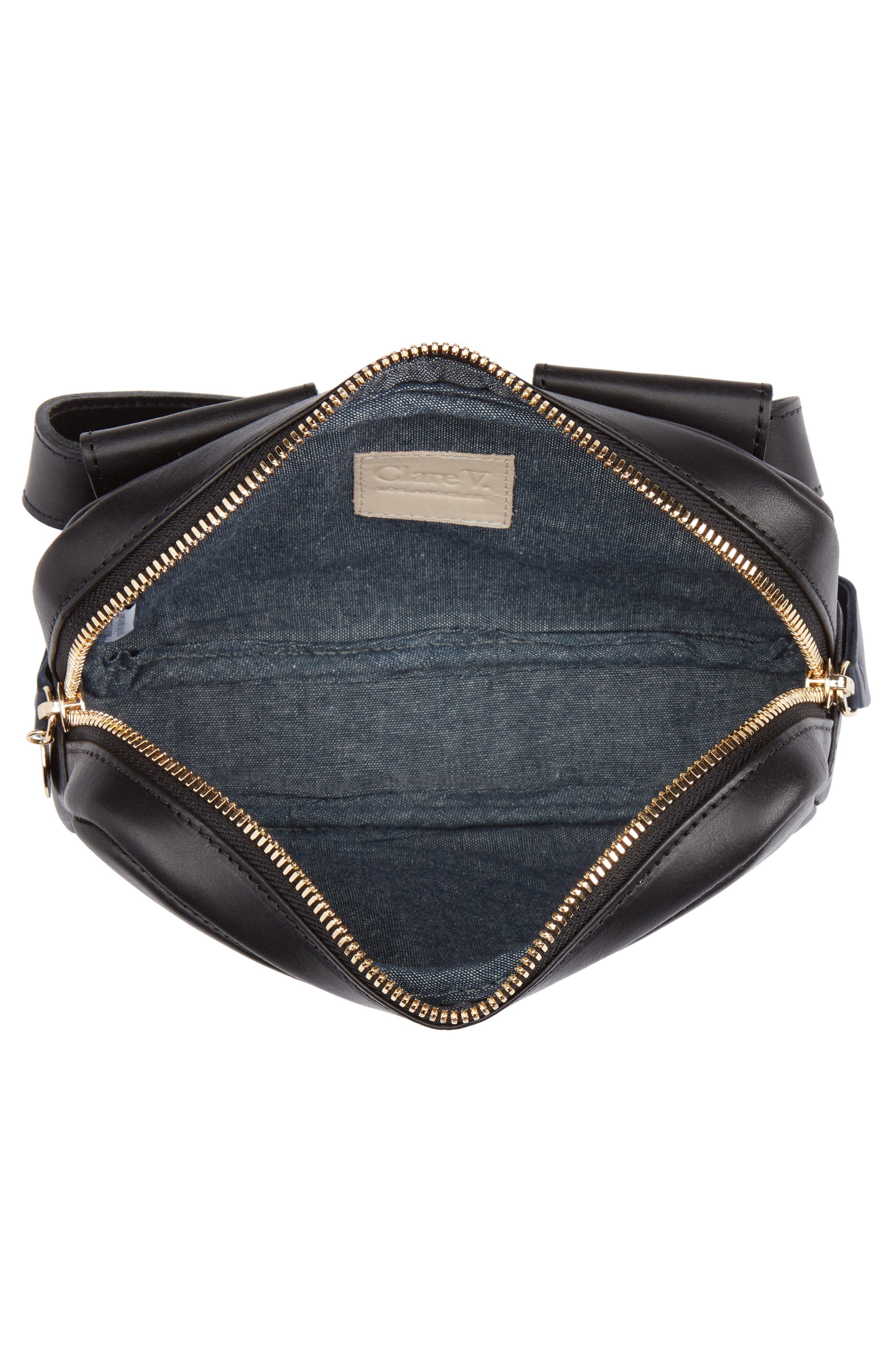 CLARE V.,                             Le Belt Leather Convertible Crossbody Bag,                             Alternate thumbnail 6, color,                             BLACK VEGAN