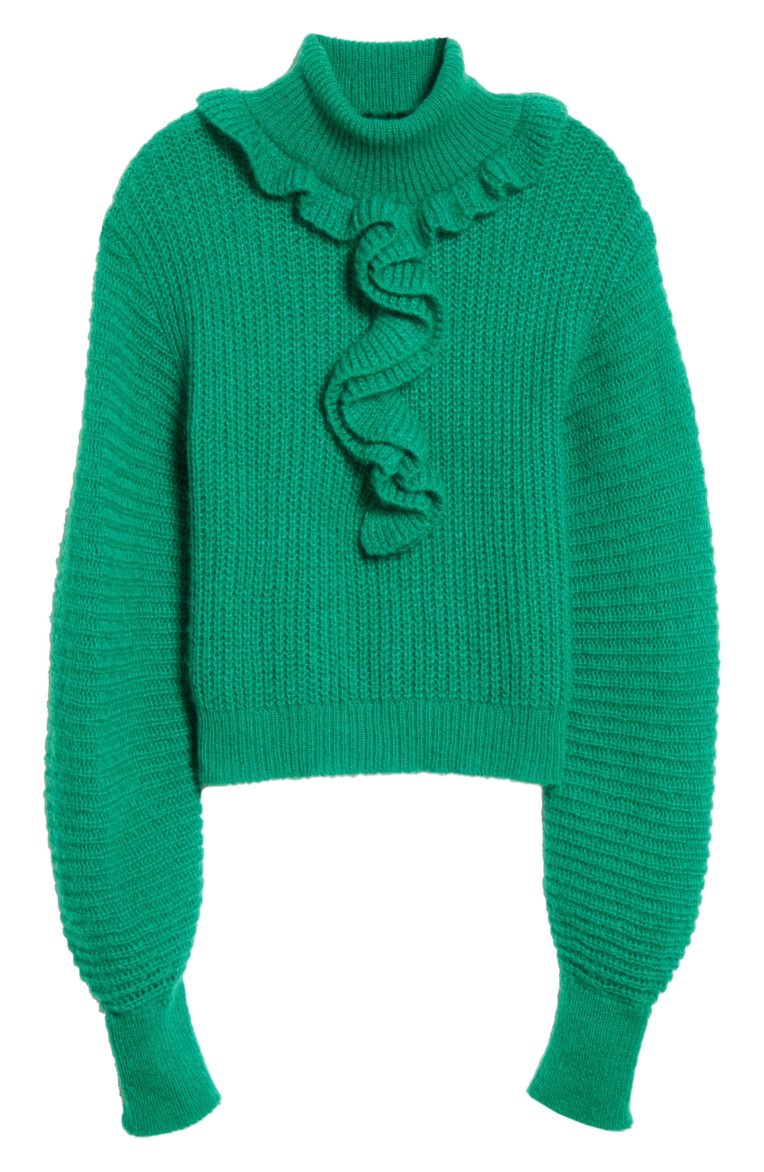 Ruffle Neck Sweater,                             Alternate thumbnail 6, color,                             GRASS GREEN