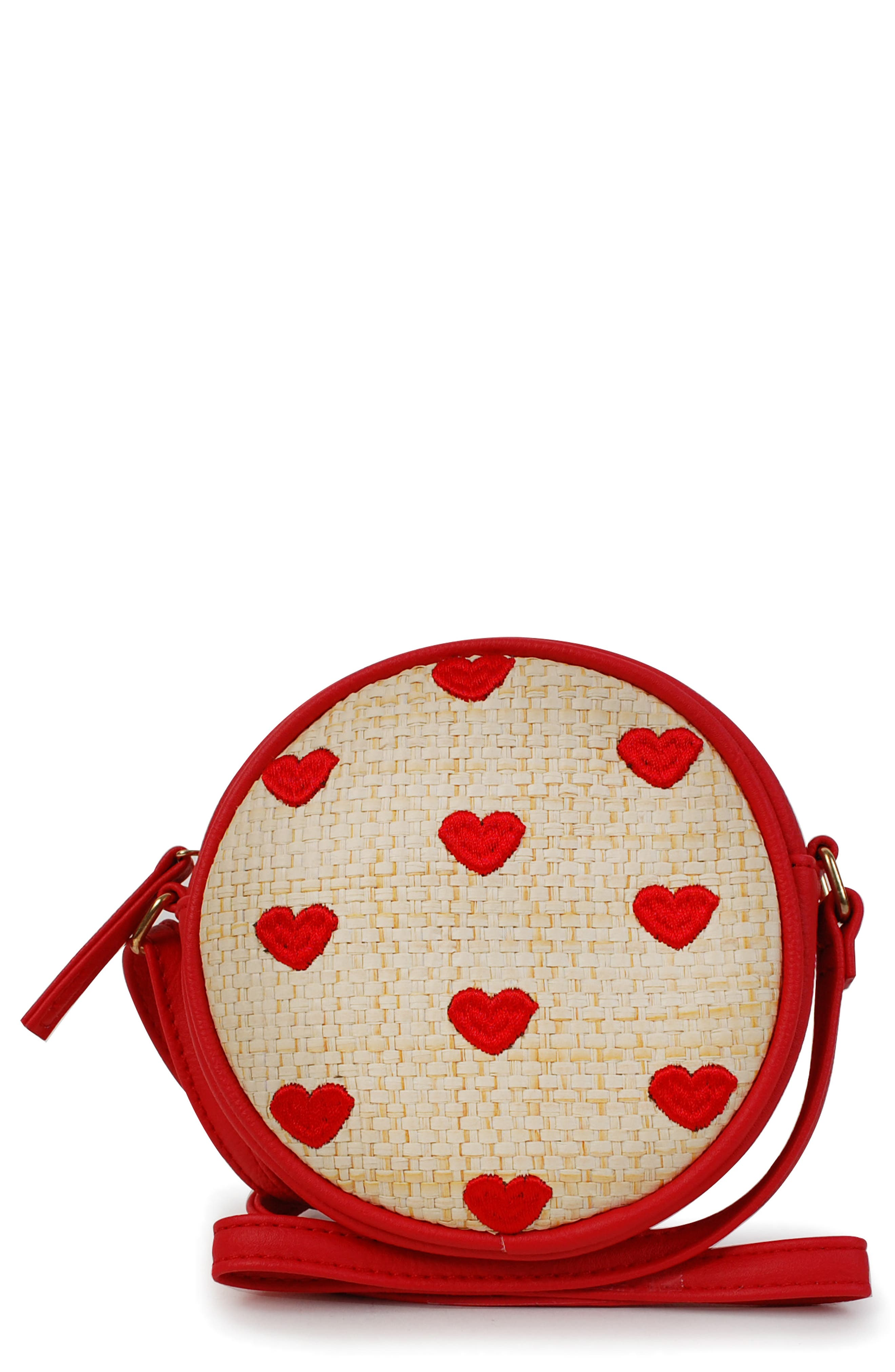 Heart Embroidered Straw Canteen Crossbody Bag, Main, color, RED