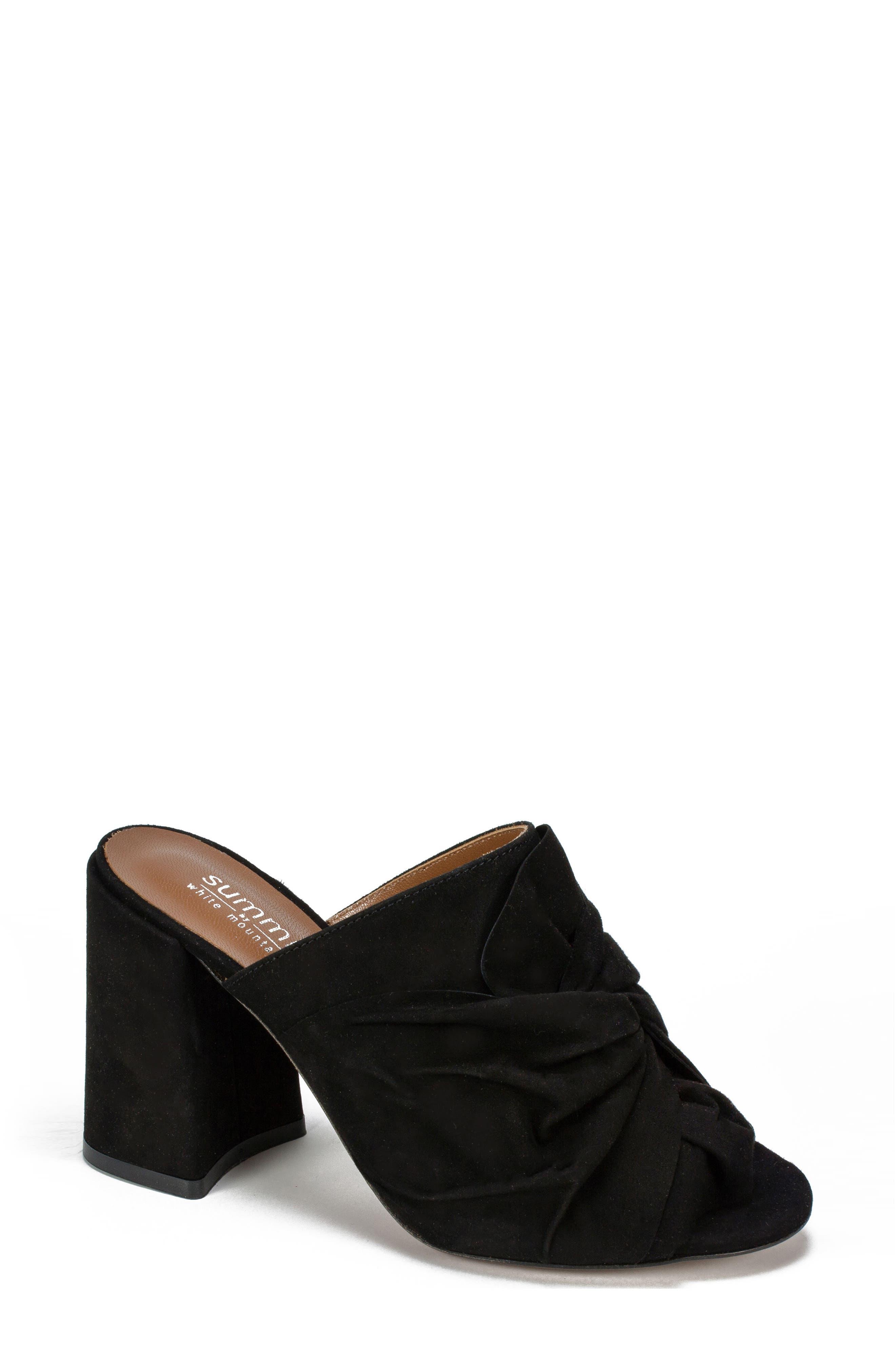 Anya Block Heel Mule,                         Main,                         color, BLACK SUEDE