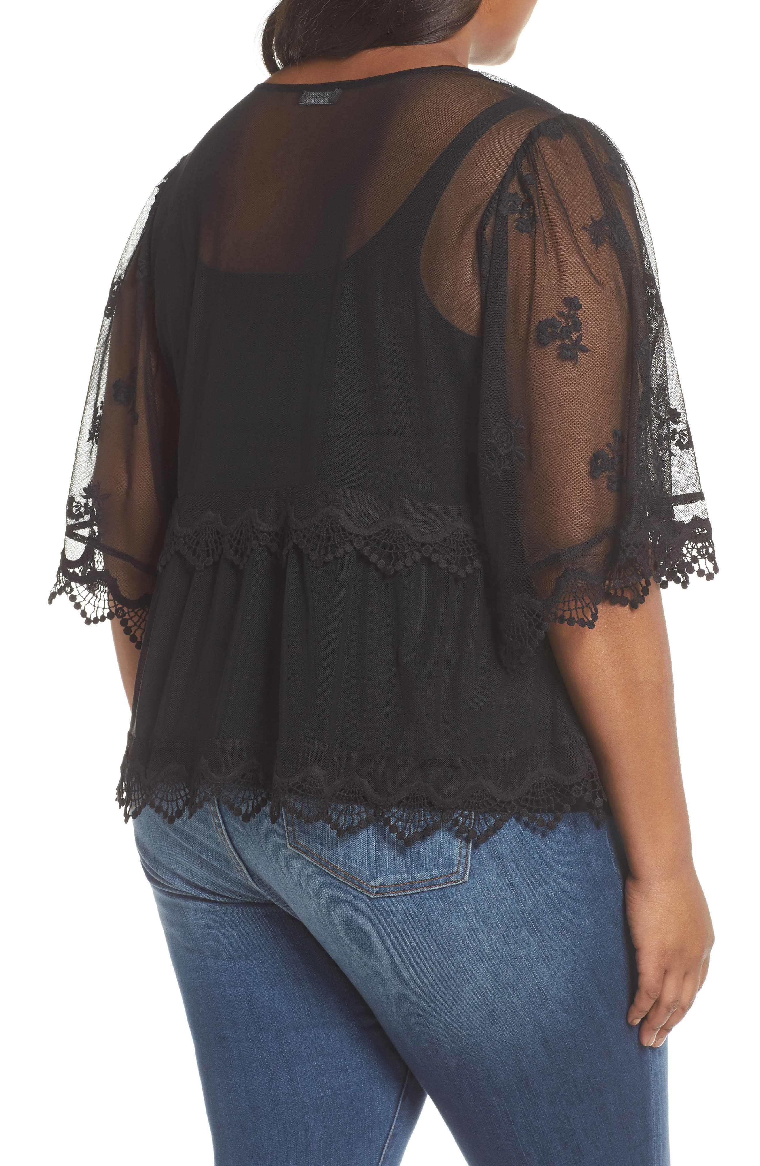 Scallop Trim Embroidered Mesh Top,                             Alternate thumbnail 2, color,                             RICH BLACK