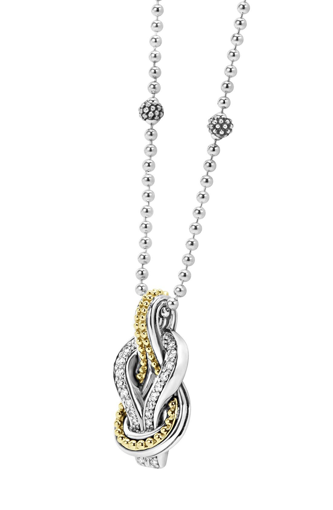 'Newport' Diamond Knot Pendant Necklace,                             Alternate thumbnail 7, color,                             040