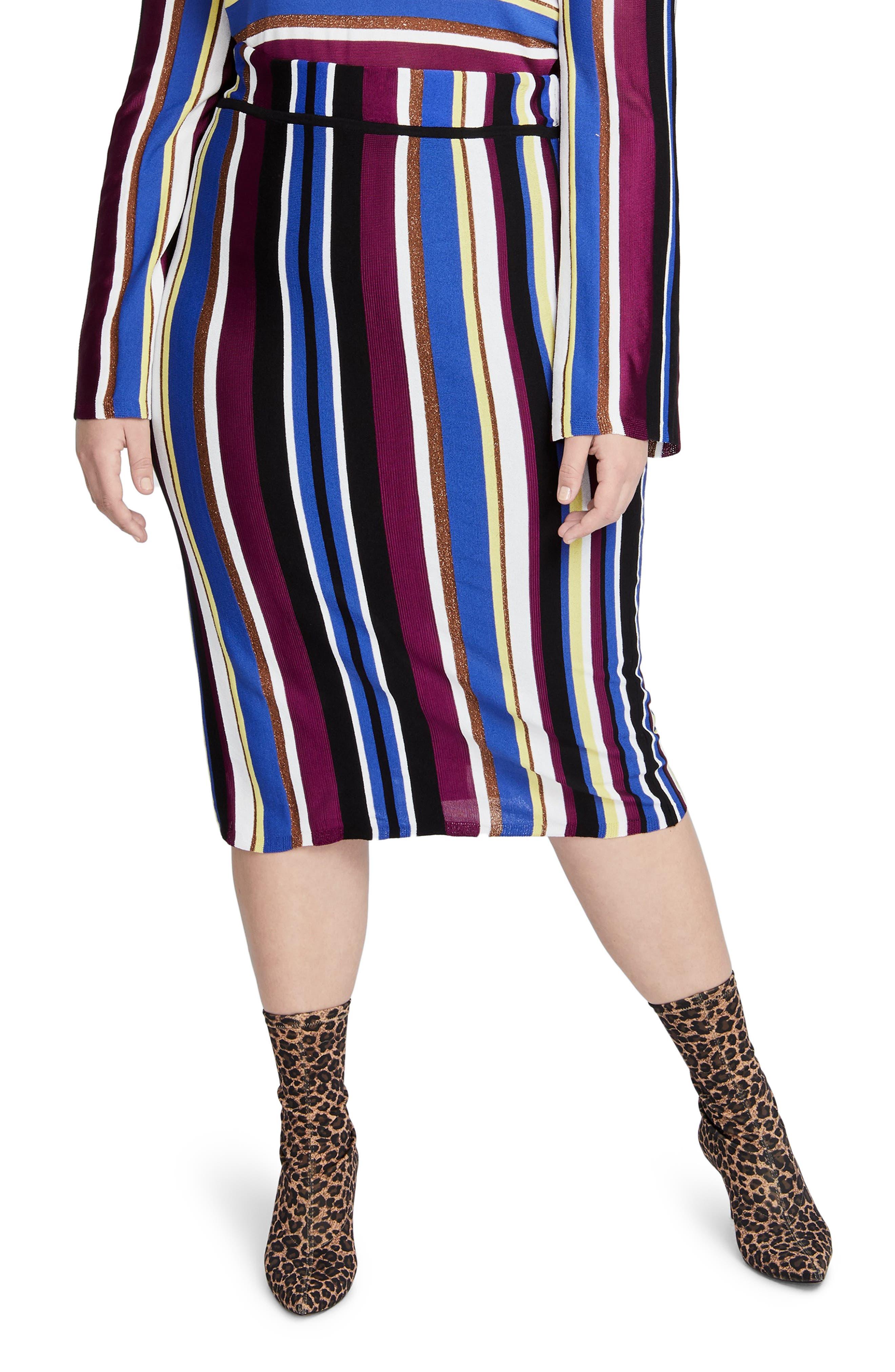 Plus Size Rachel Rachel Roy Metallic Stripe Pencil Skirt, Purple
