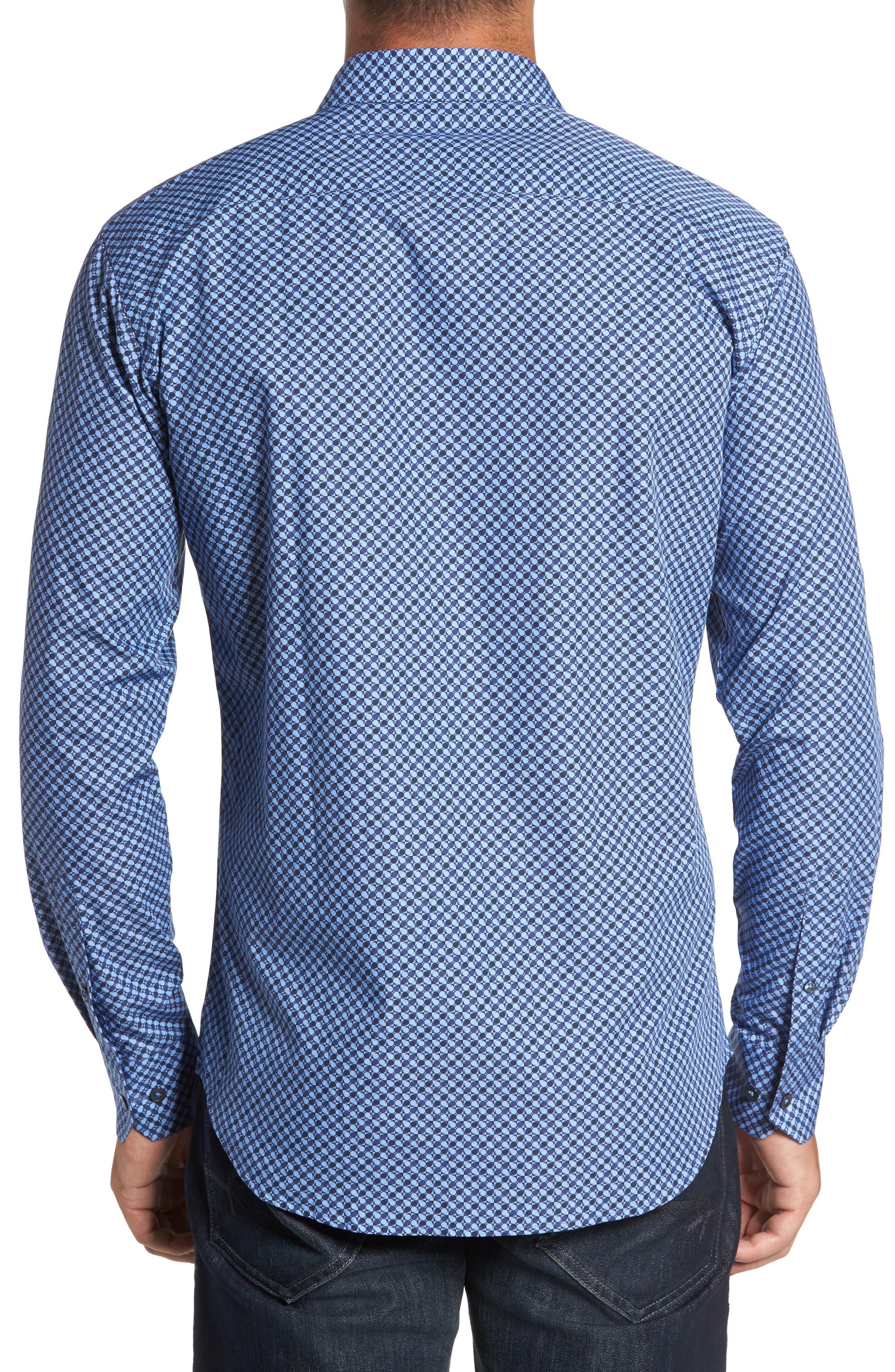 Trim Fit Dot Print Sport Shirt,                             Alternate thumbnail 2, color,