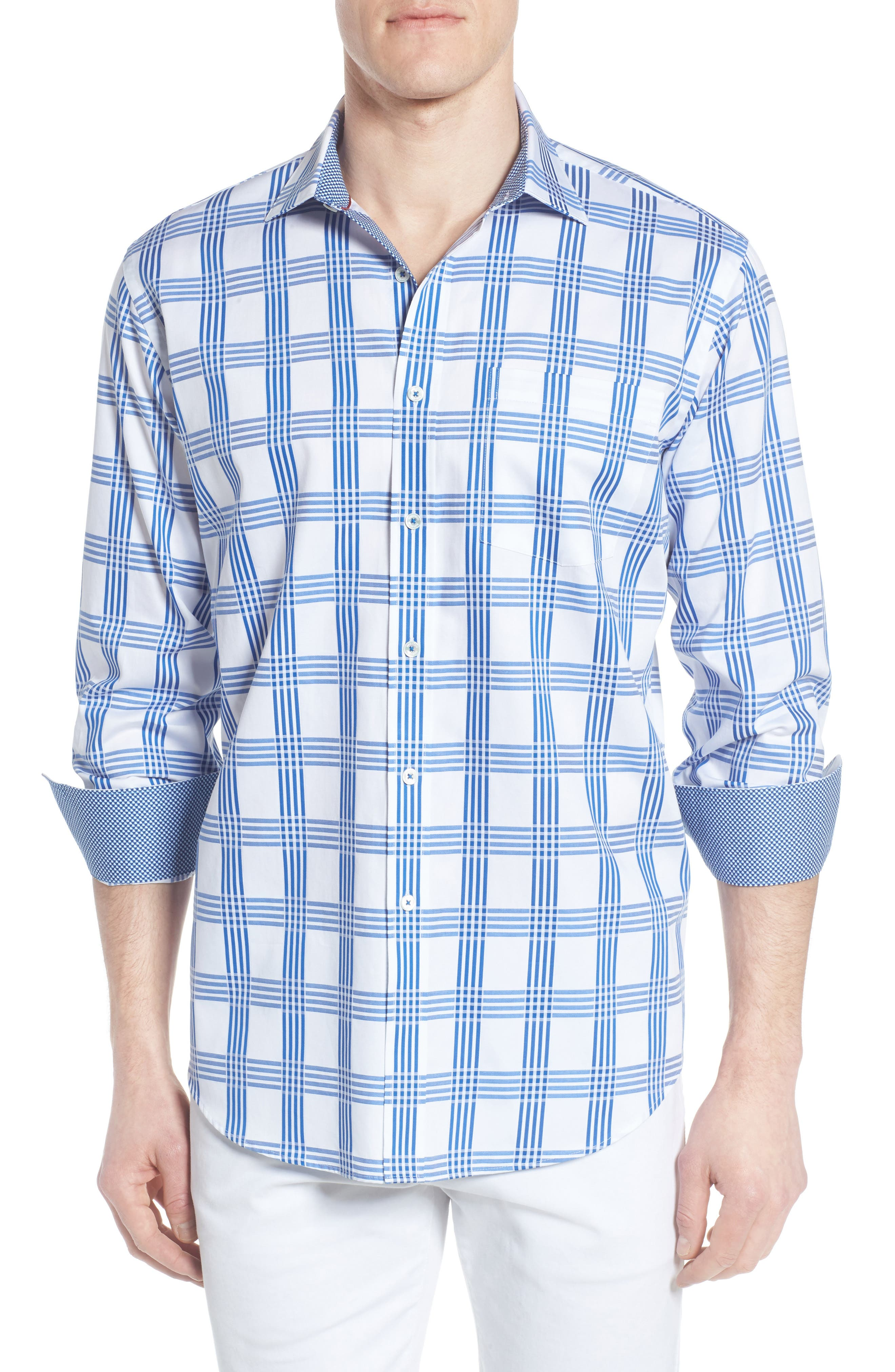 Classic Fit Check Sport Shirt,                             Main thumbnail 1, color,                             422