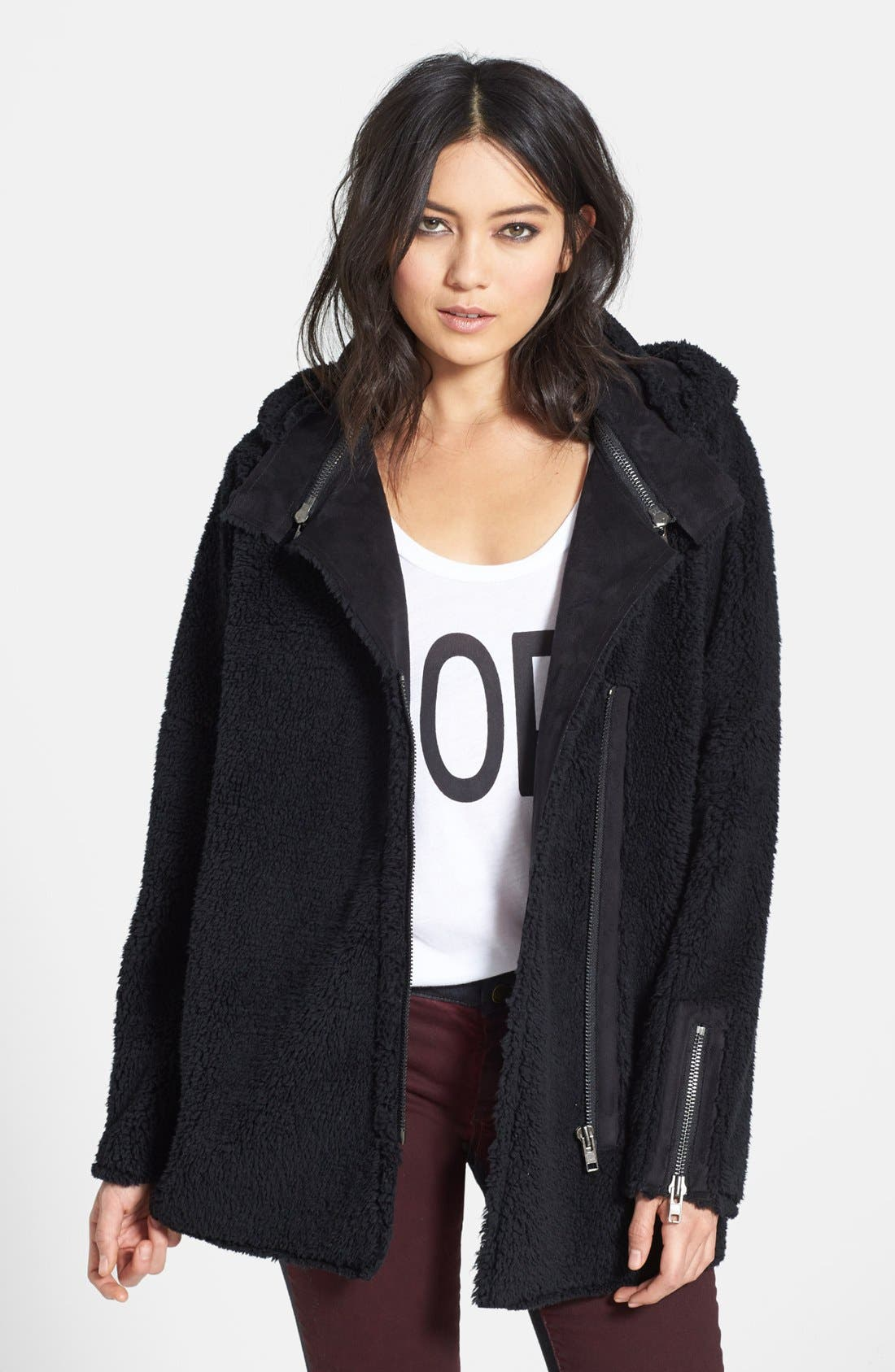 Oversized Fleece Coat, Main, color, 001