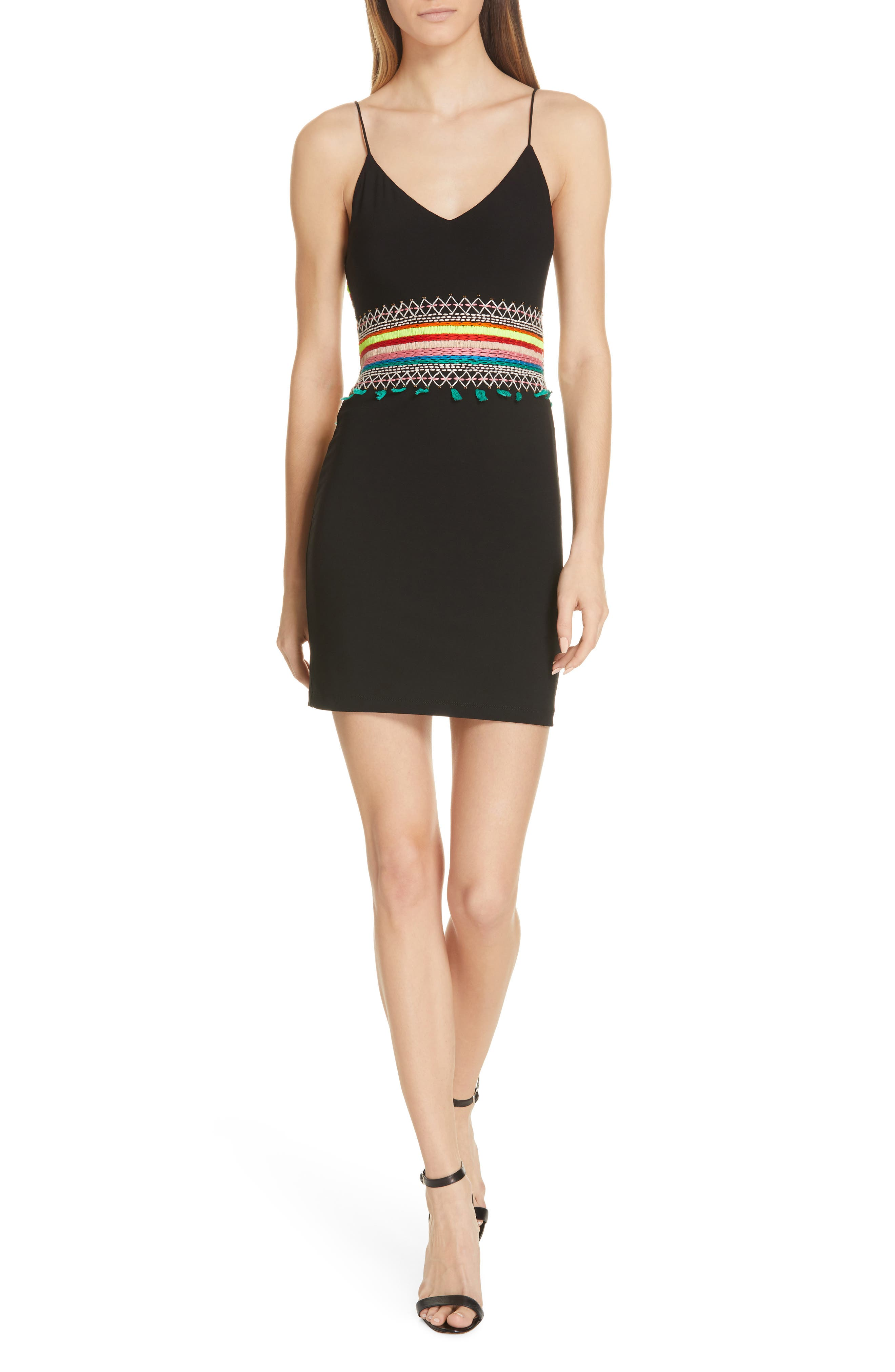 Alice + Olivia Loralee Embroidered Fitted Minidress, Black