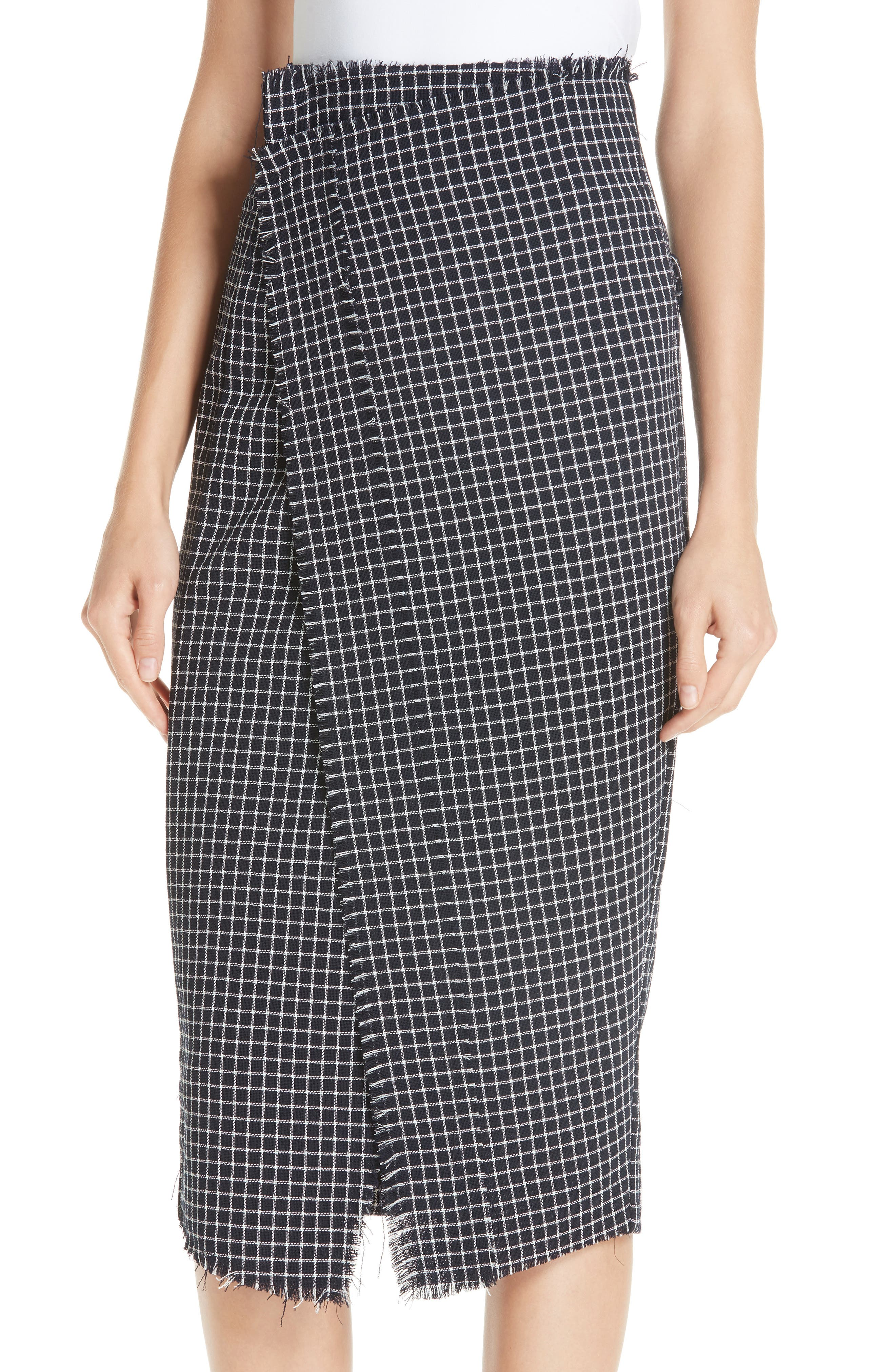 JASON WU COLLECTION,                             Wool Check Skirt,                             Alternate thumbnail 4, color,                             001