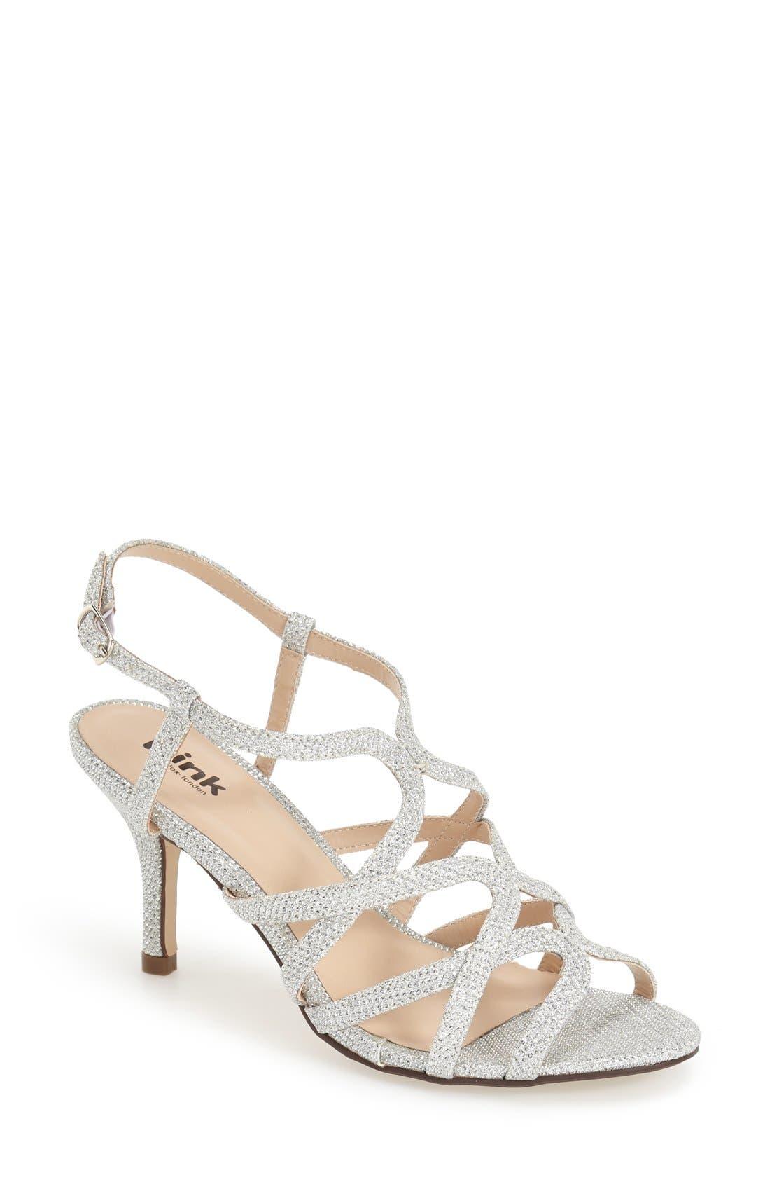 'Rich Glitter' Sandal,                         Main,                         color, SILVER GLITTER MESH