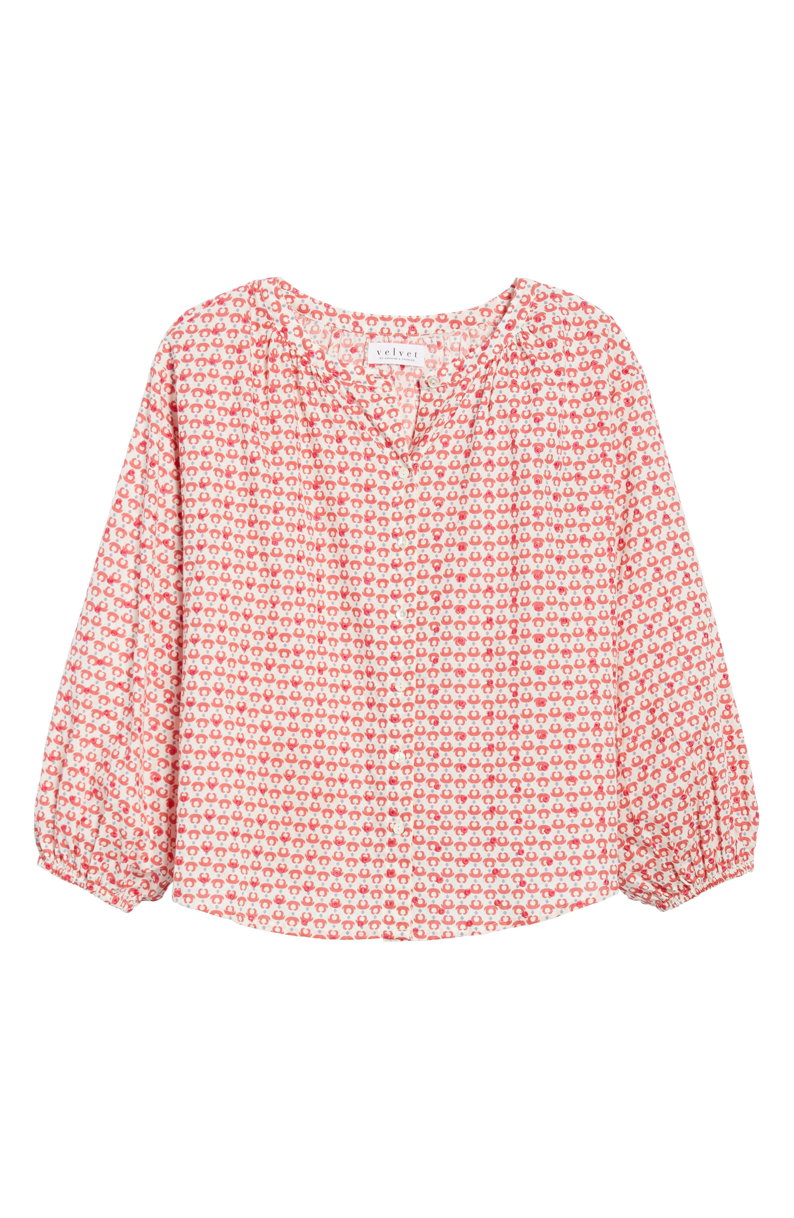 Embroidered Print Blouse,                             Alternate thumbnail 7, color,