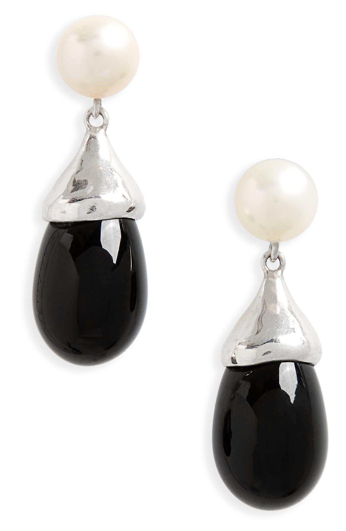 Audrey Freshwater Pearl & Glass Teardrop Earrings,                         Main,                         color, 040