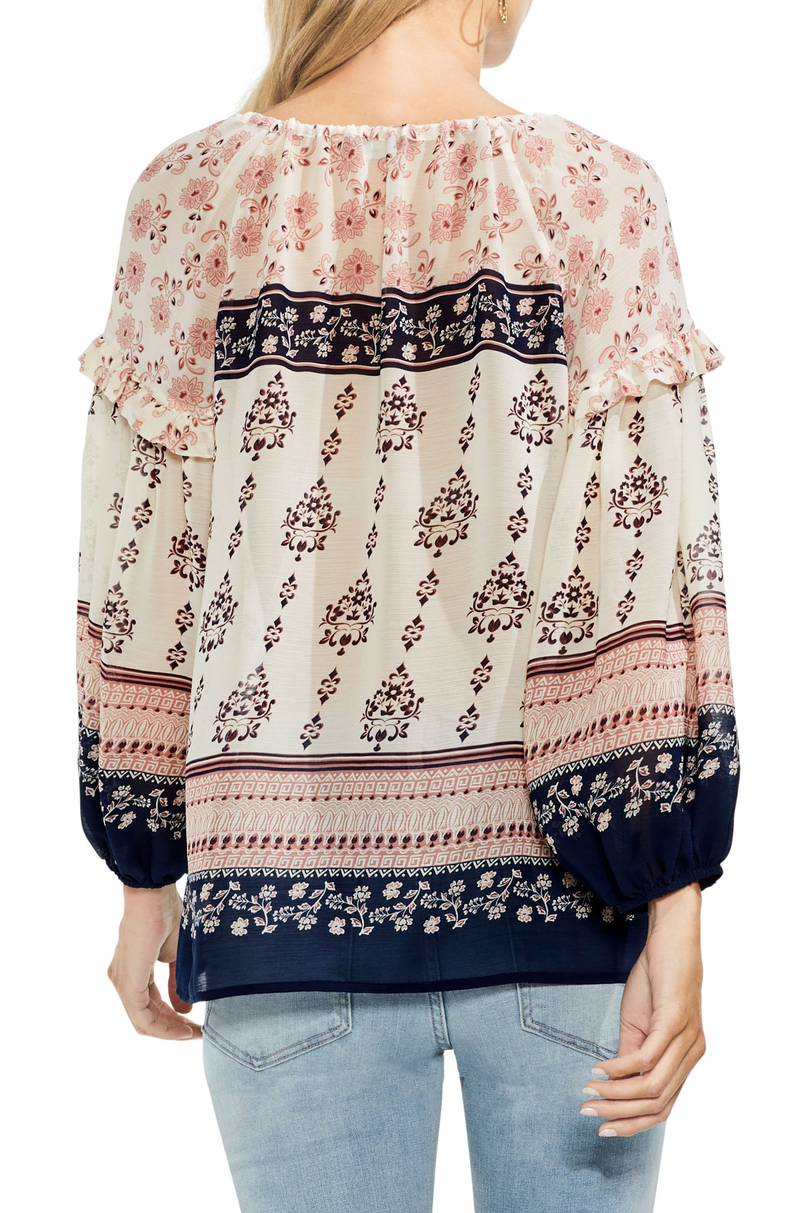 Wildflower Print Peasant Blouse,                             Alternate thumbnail 4, color,