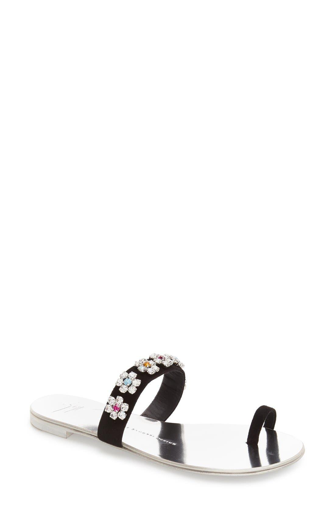 Crystal Embellished Flat Sandal,                             Main thumbnail 1, color,                             001