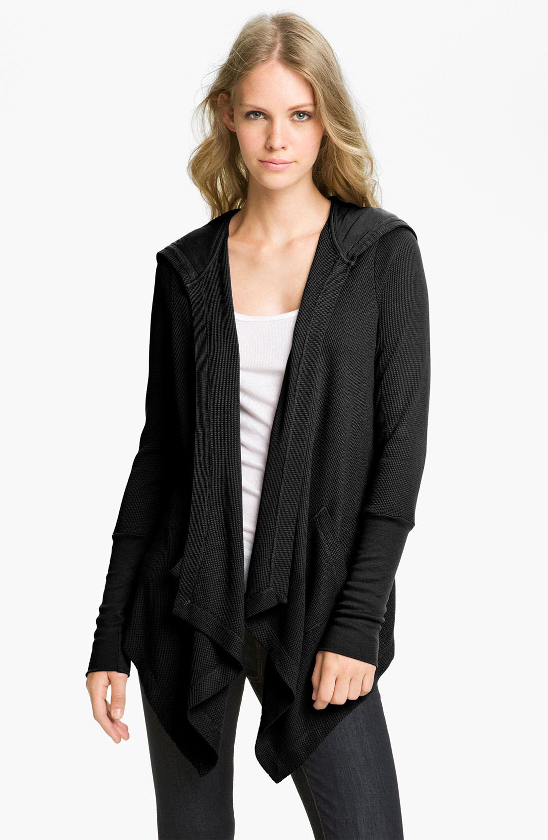 Draped Thermal Hoodie,                             Alternate thumbnail 2, color,                             BLACK