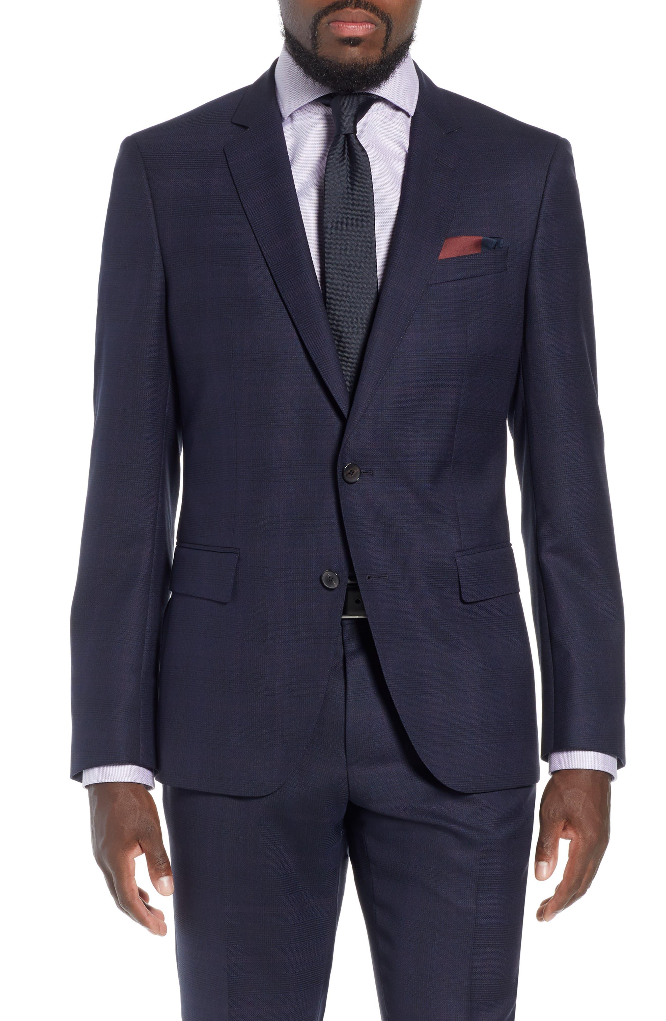 x Nordstrom Huge/Genius Trim Fit Plaid Wool Suit,                             Main thumbnail 1, color,                             NAVY