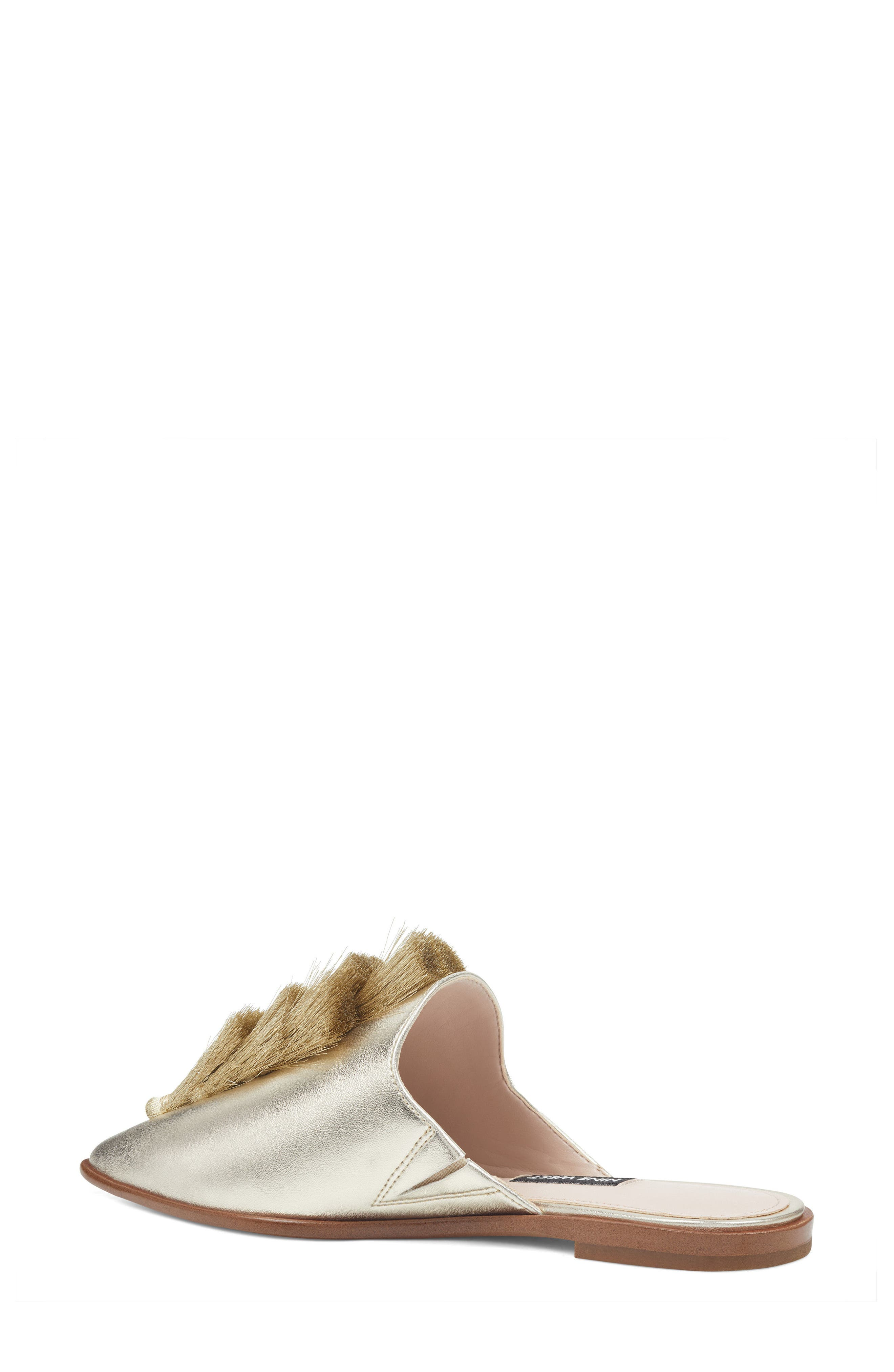 Ollial Fringed Loafer Mule,                             Alternate thumbnail 2, color,                             LIGHT GOLD LEATHER