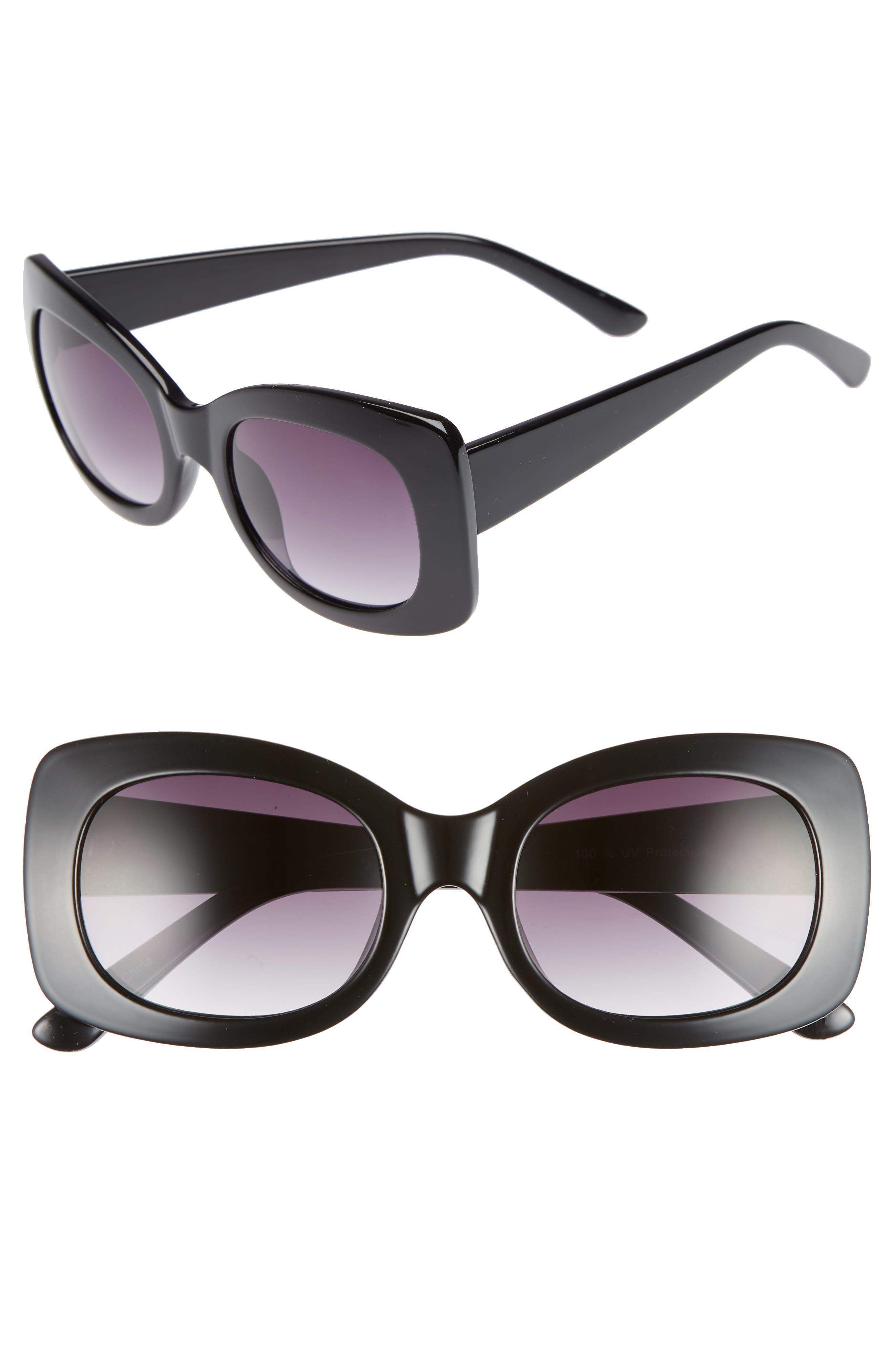 53mm Square Sunglasses,                             Main thumbnail 1, color,                             001