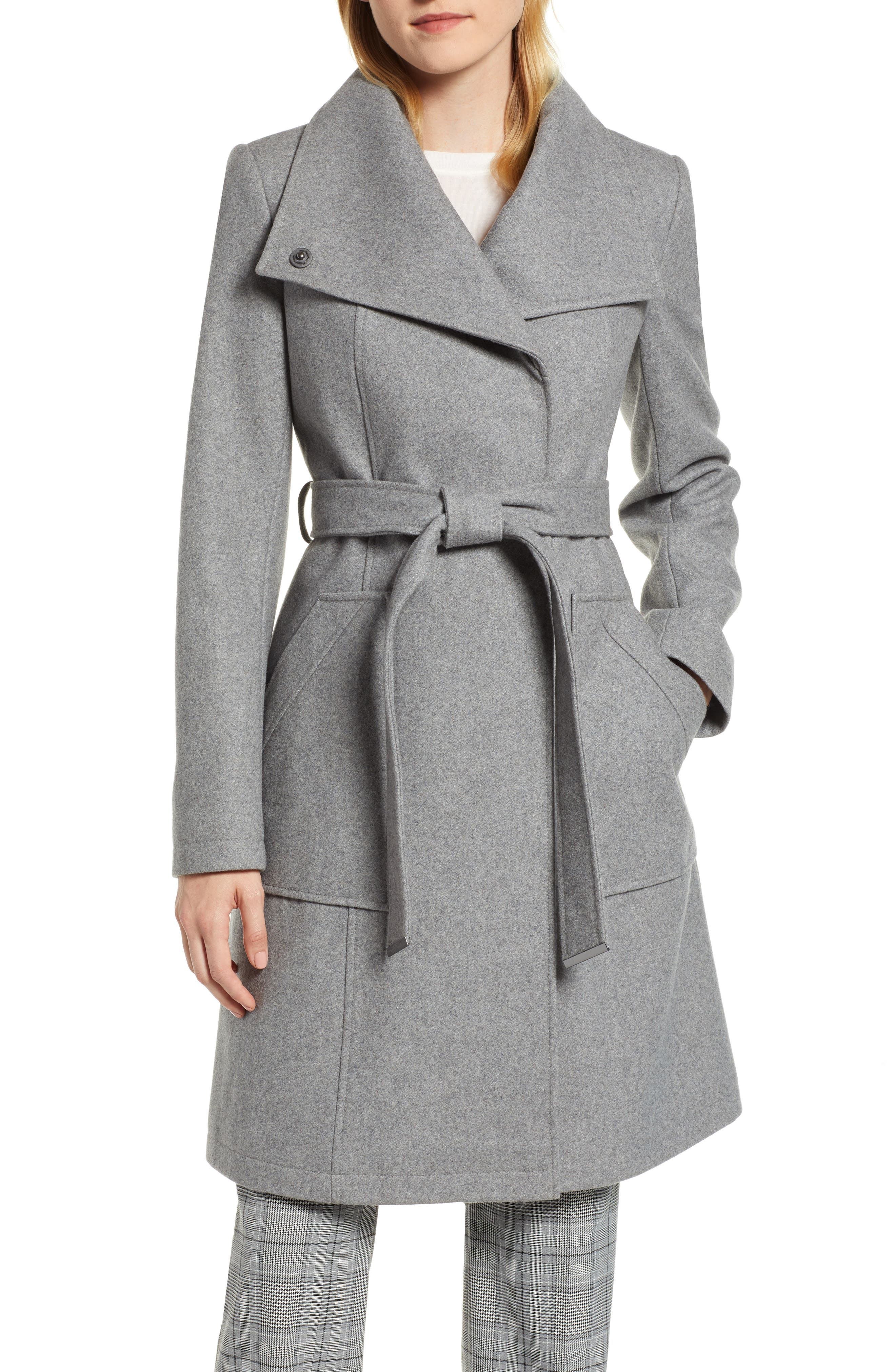 Belted Wool Blend Coat,                         Main,                         color, GREY