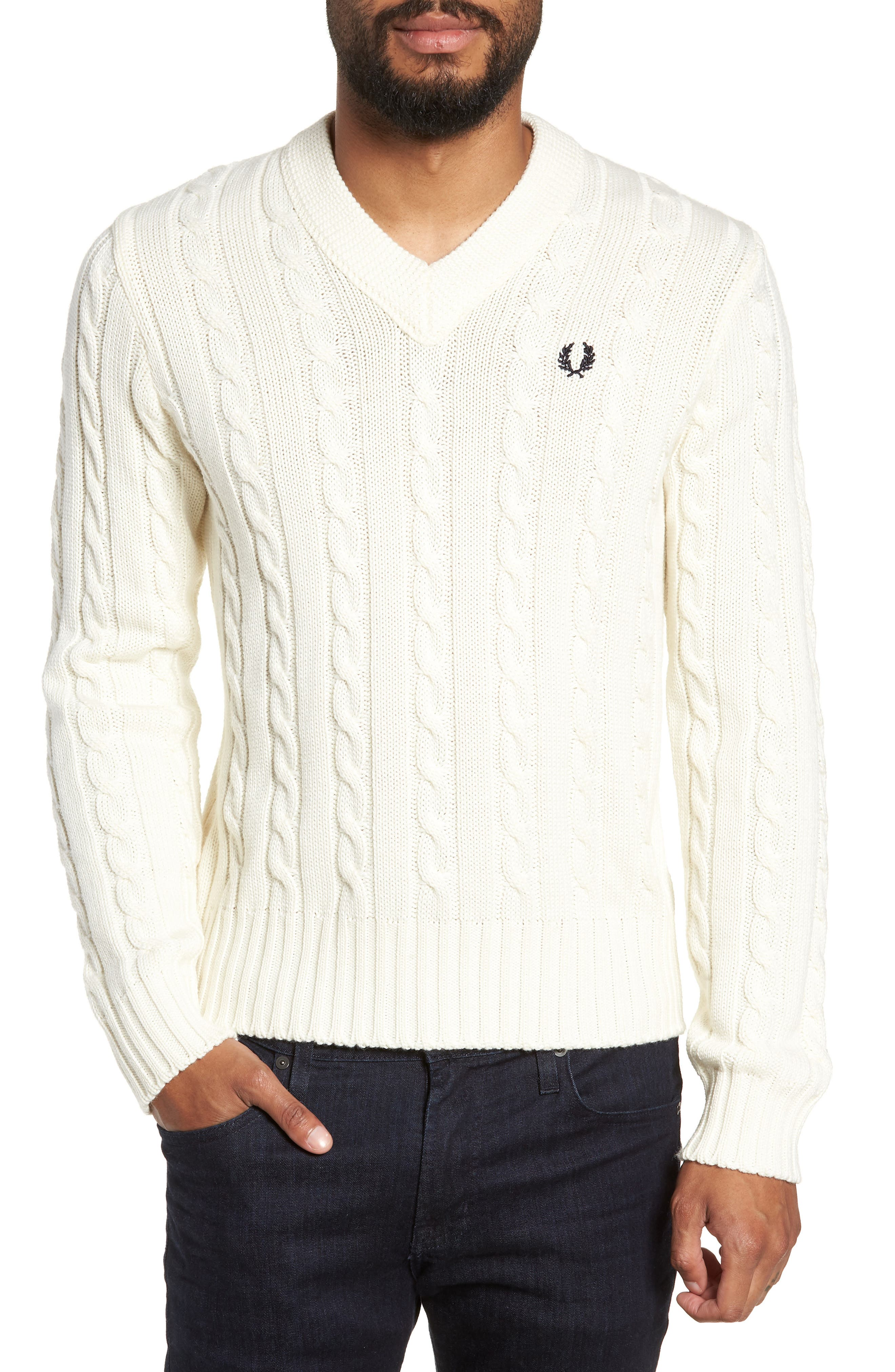 Wool Blend Cable Knit Sweater,                         Main,                         color, ECRU