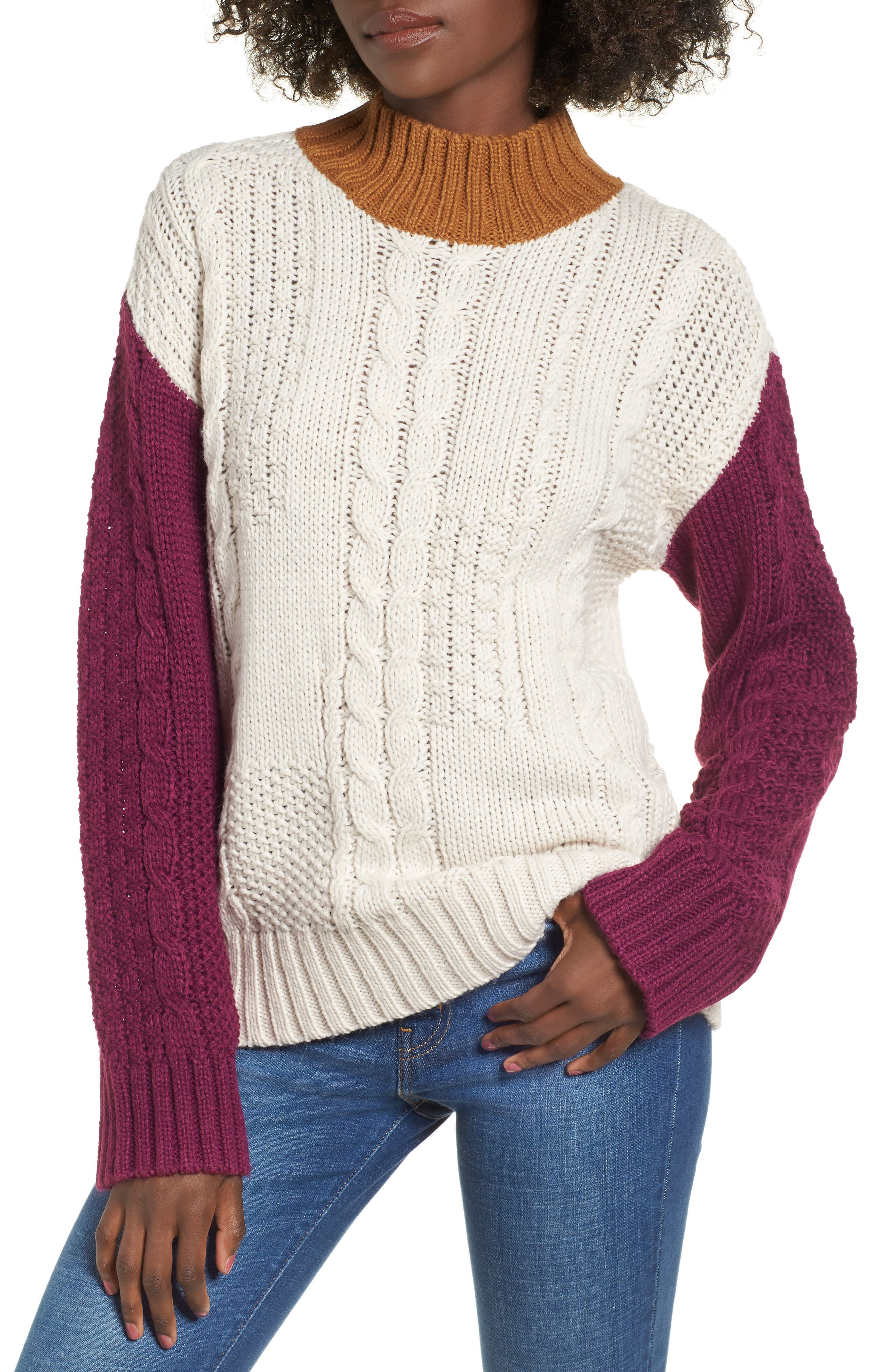 Colorblock Cable Knit Pullover,                             Main thumbnail 1, color,                             270