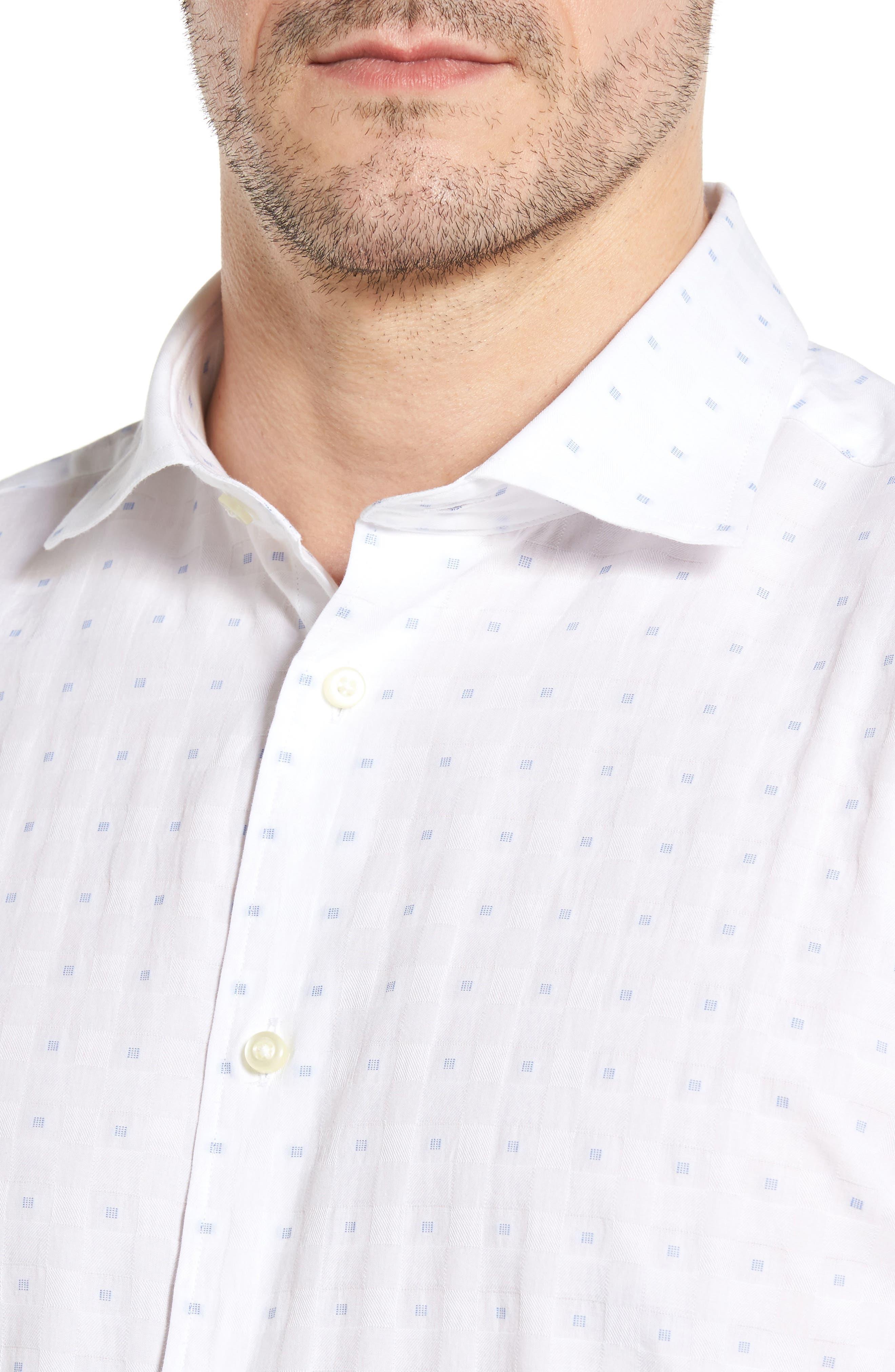 Classic Fit Fil Coupé Sport Shirt,                             Alternate thumbnail 4, color,