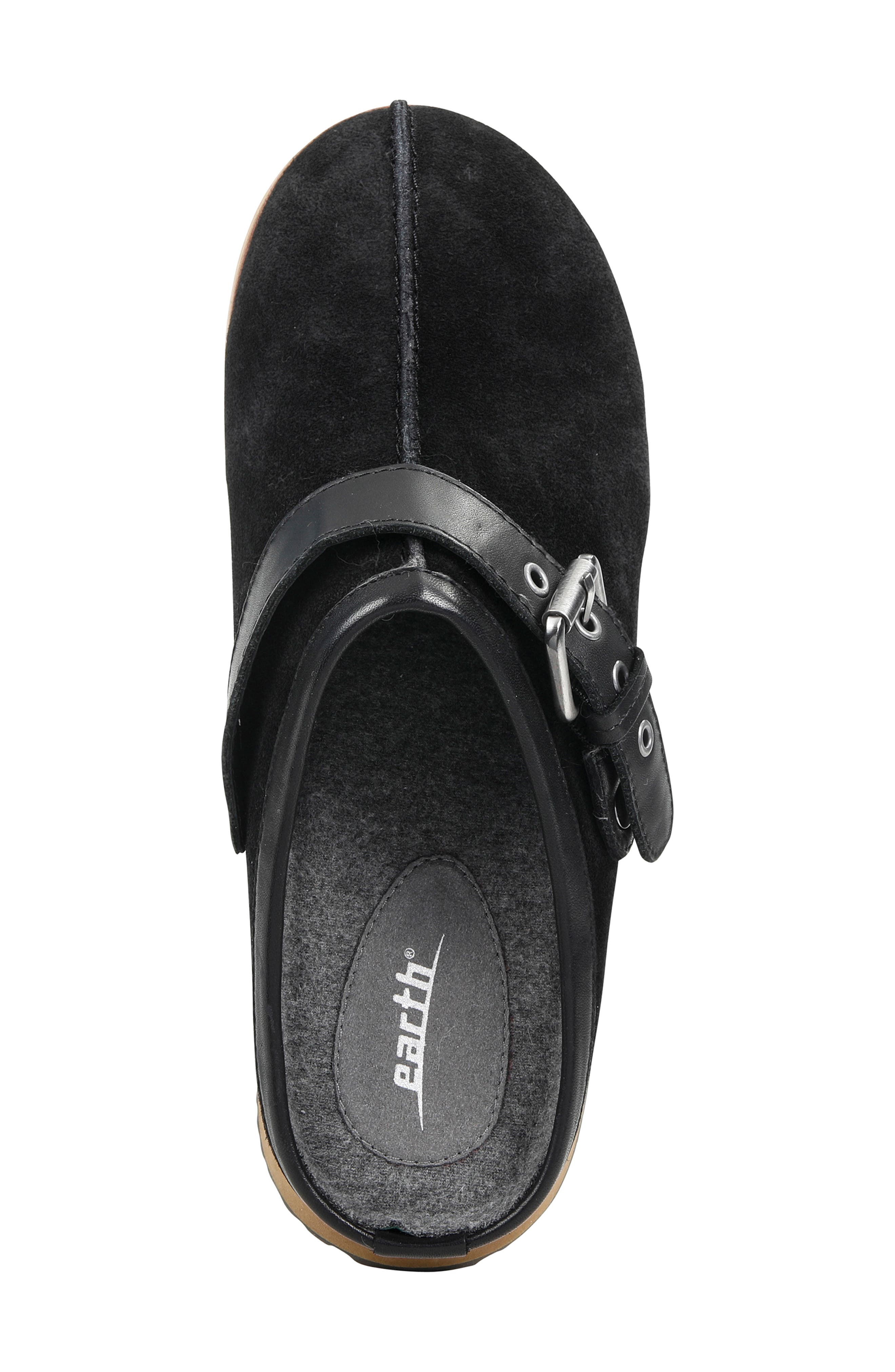 Lyra Buckle Clog,                             Alternate thumbnail 5, color,                             BLACK SUEDE