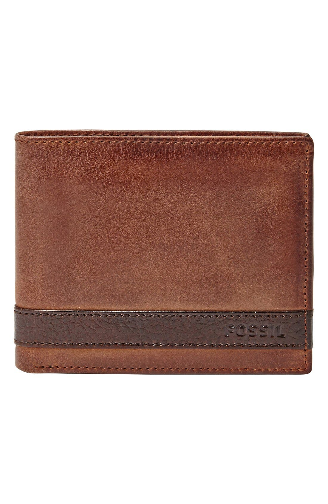 'Quinn' Leather Bifold Wallet,                             Alternate thumbnail 2, color,                             BROWN